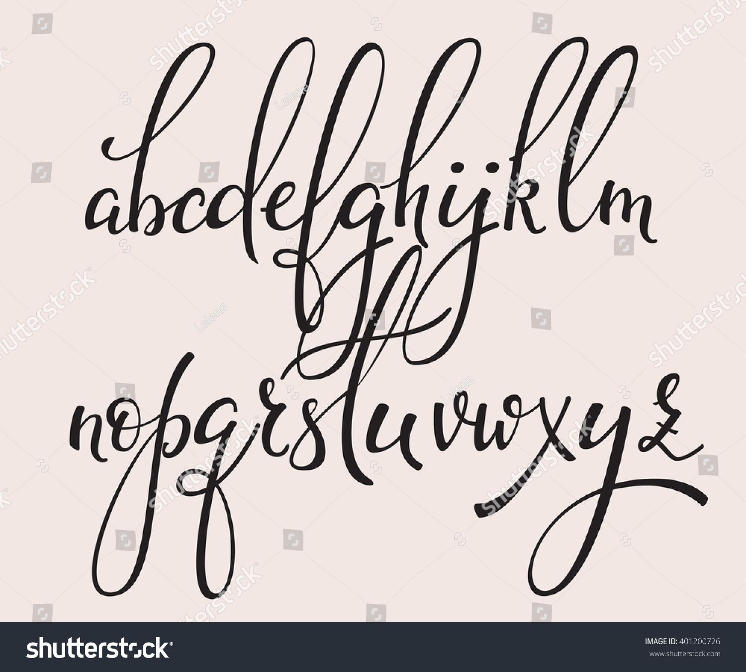 Handwritten brush style modern calligraphy cursive stock