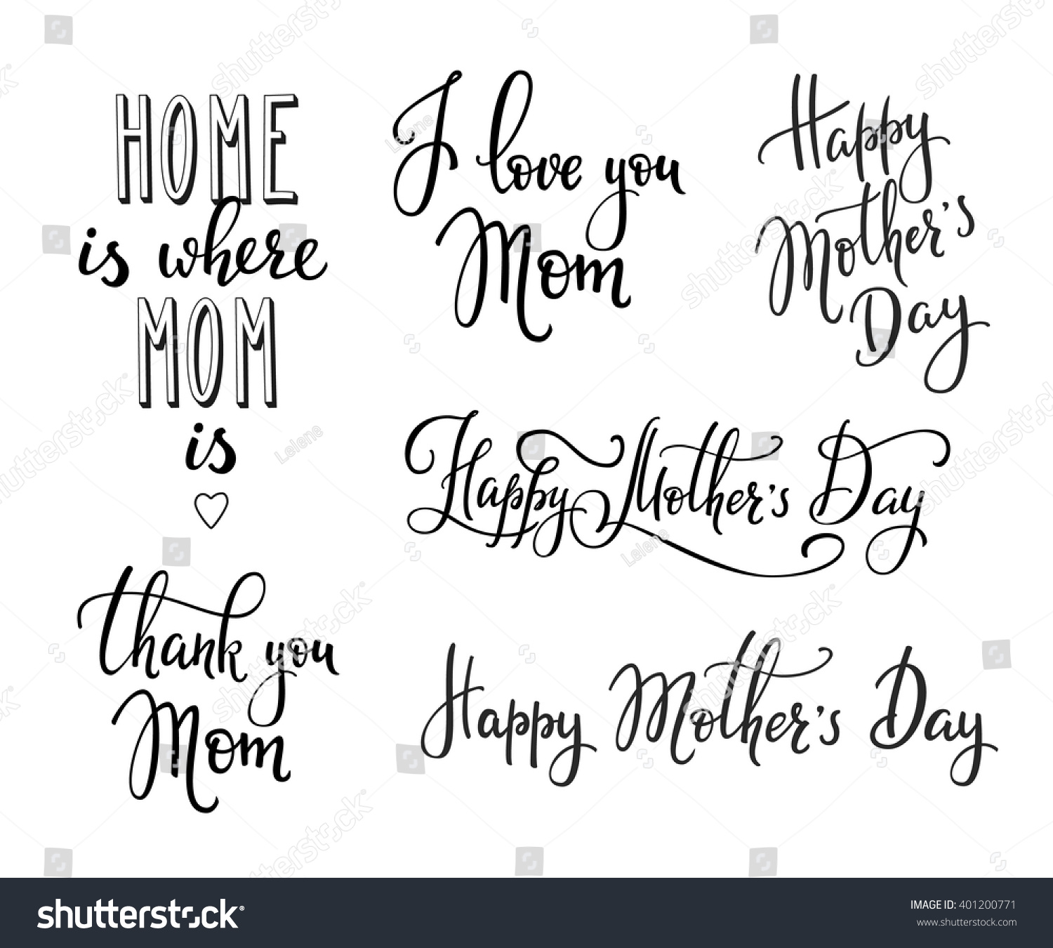 Happy mothers day simple lettering calligraphy stock