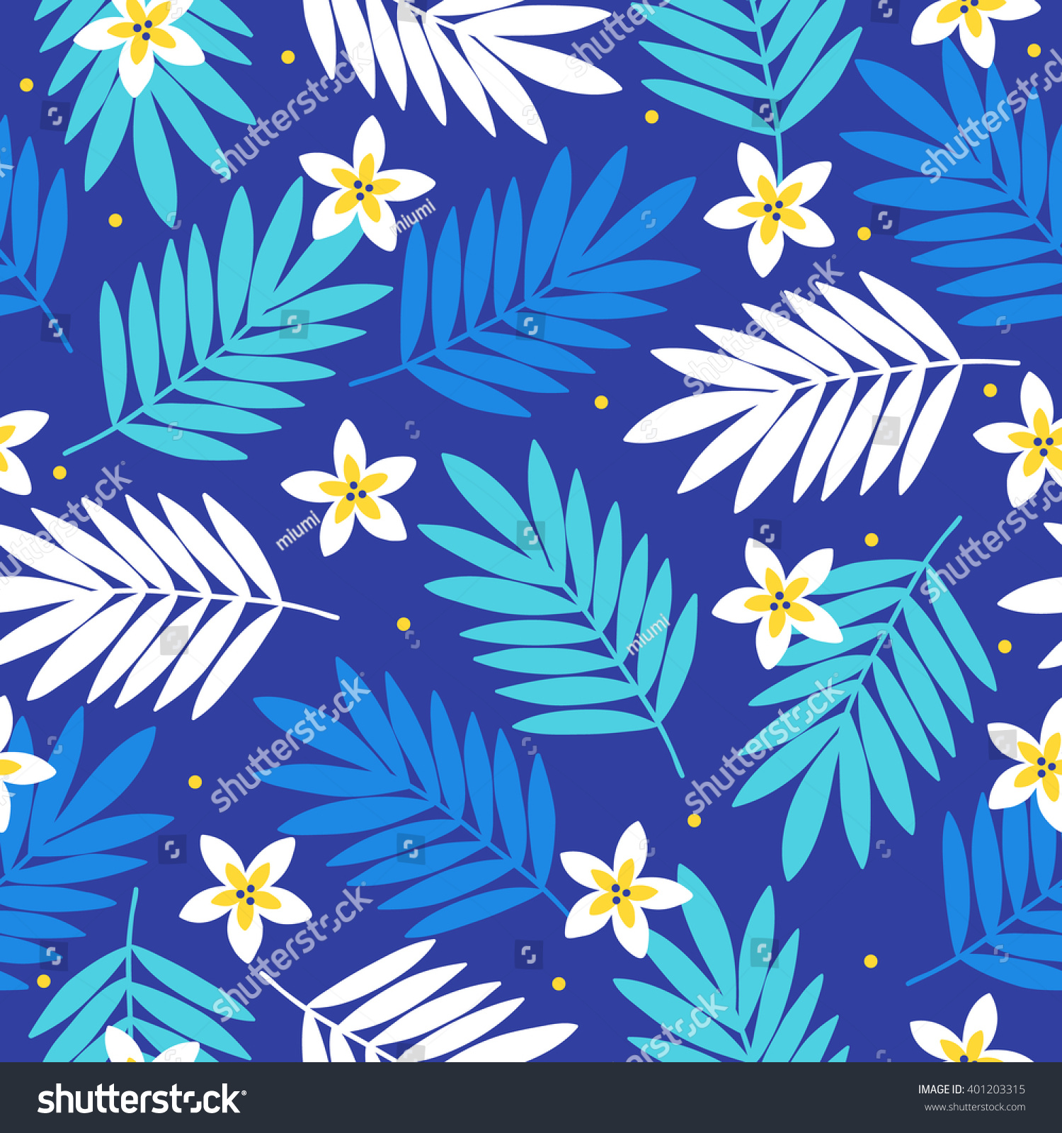 Summer seamless pattern with palm leaves and tropical flowers hawaiian motifs perfect for wallpapers