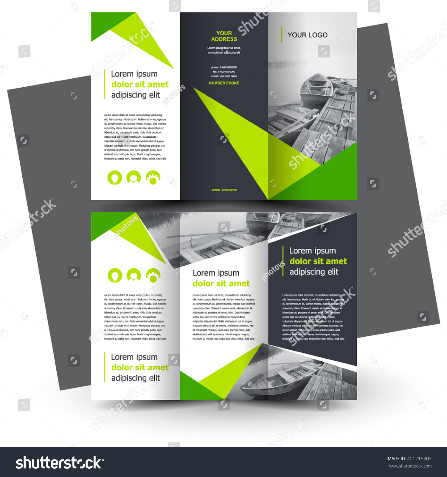 Brochure design brochure template creative trifold stock for Creative brochure templates free