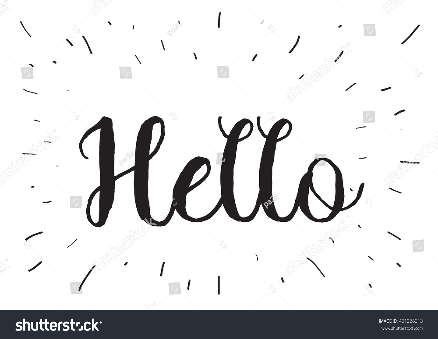 Hello Inscription Greeting Card Calligraphy Hand Stock