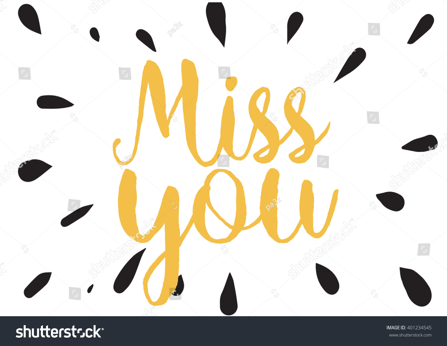 Miss You Inscription Greeting Card Calligraphy Stock Vector Royalty