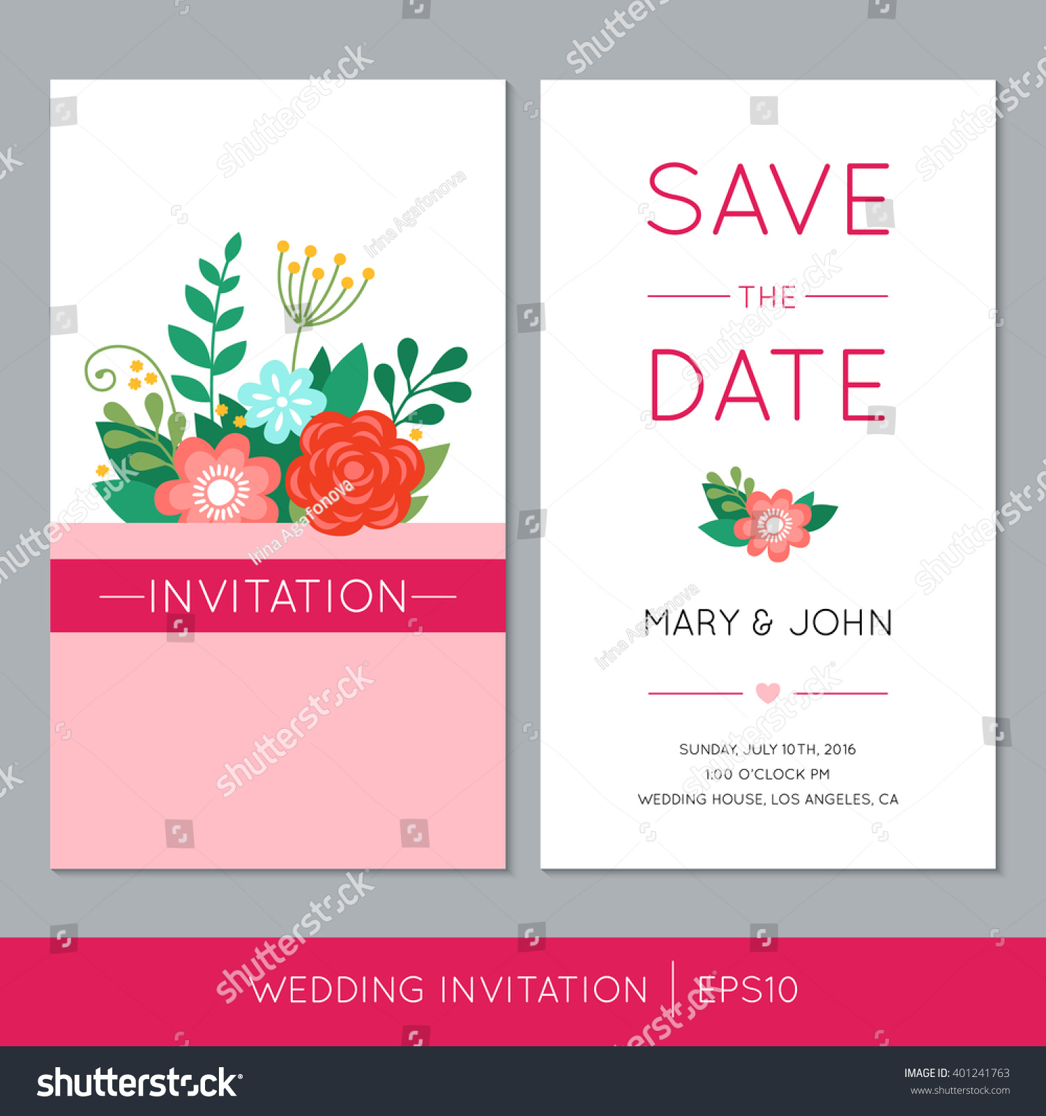 Colorful Wedding Invitation Flowers Vector Save Stock Vector ...