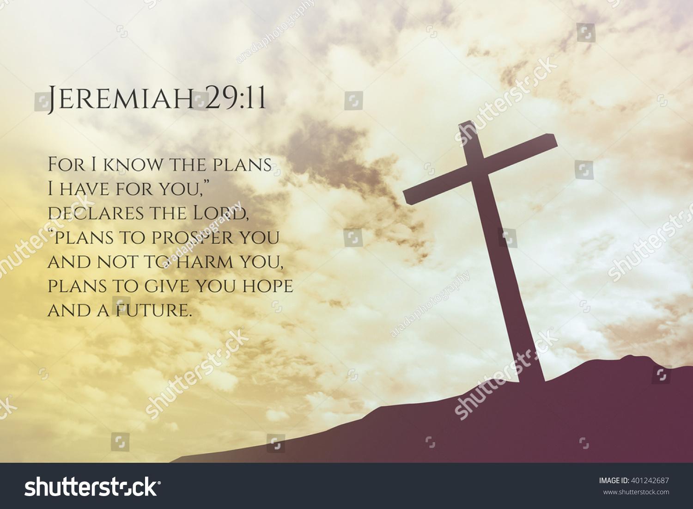 Jeremiah 2911 Vintage Bible Verse Background Stock Photo 401242687 ...