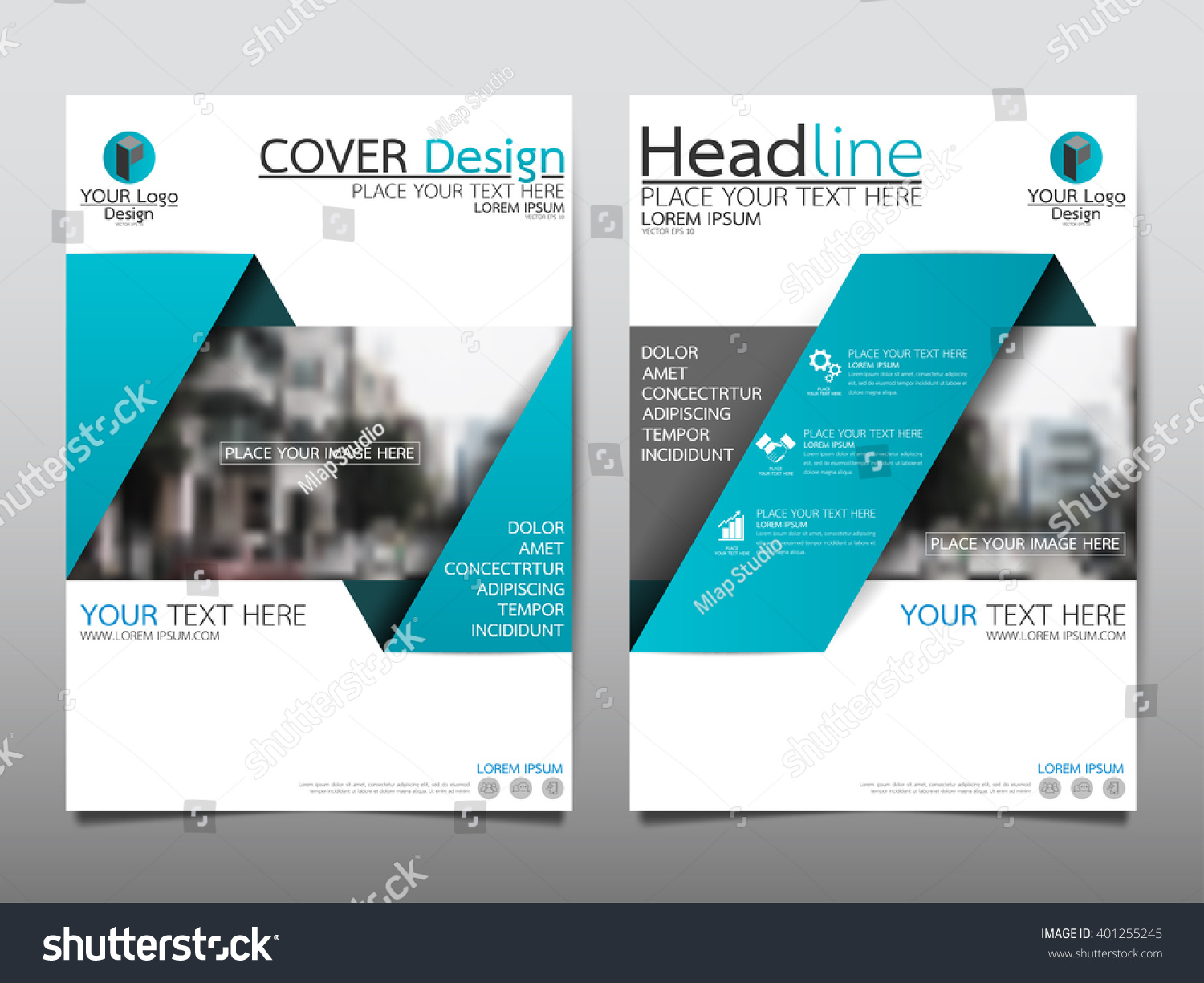 Blue annual report brochure flyer design stock vector for Background brochure templates