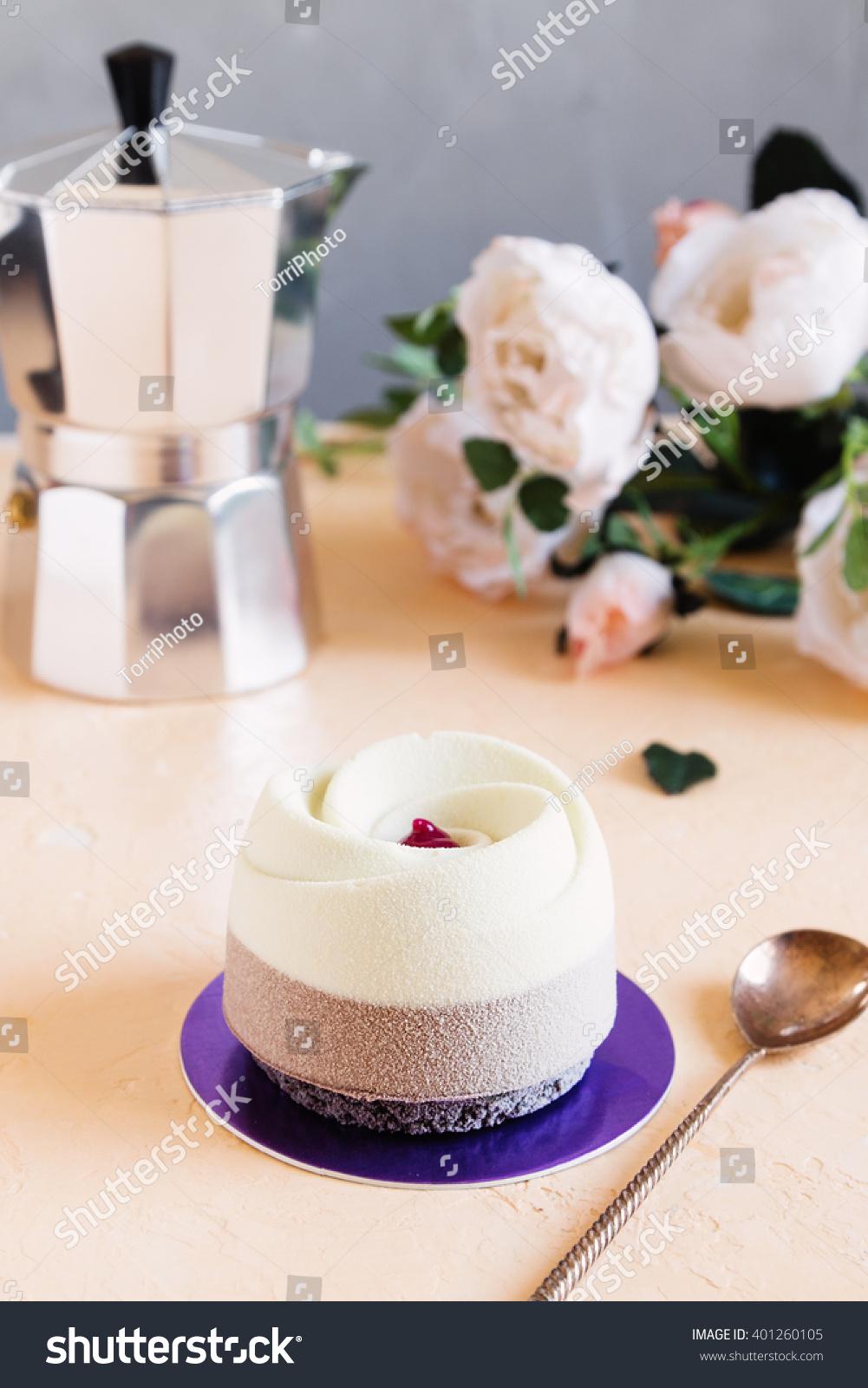 Elegance mousse pastry dessert velvet coating stock photo - Mousse decoration ...