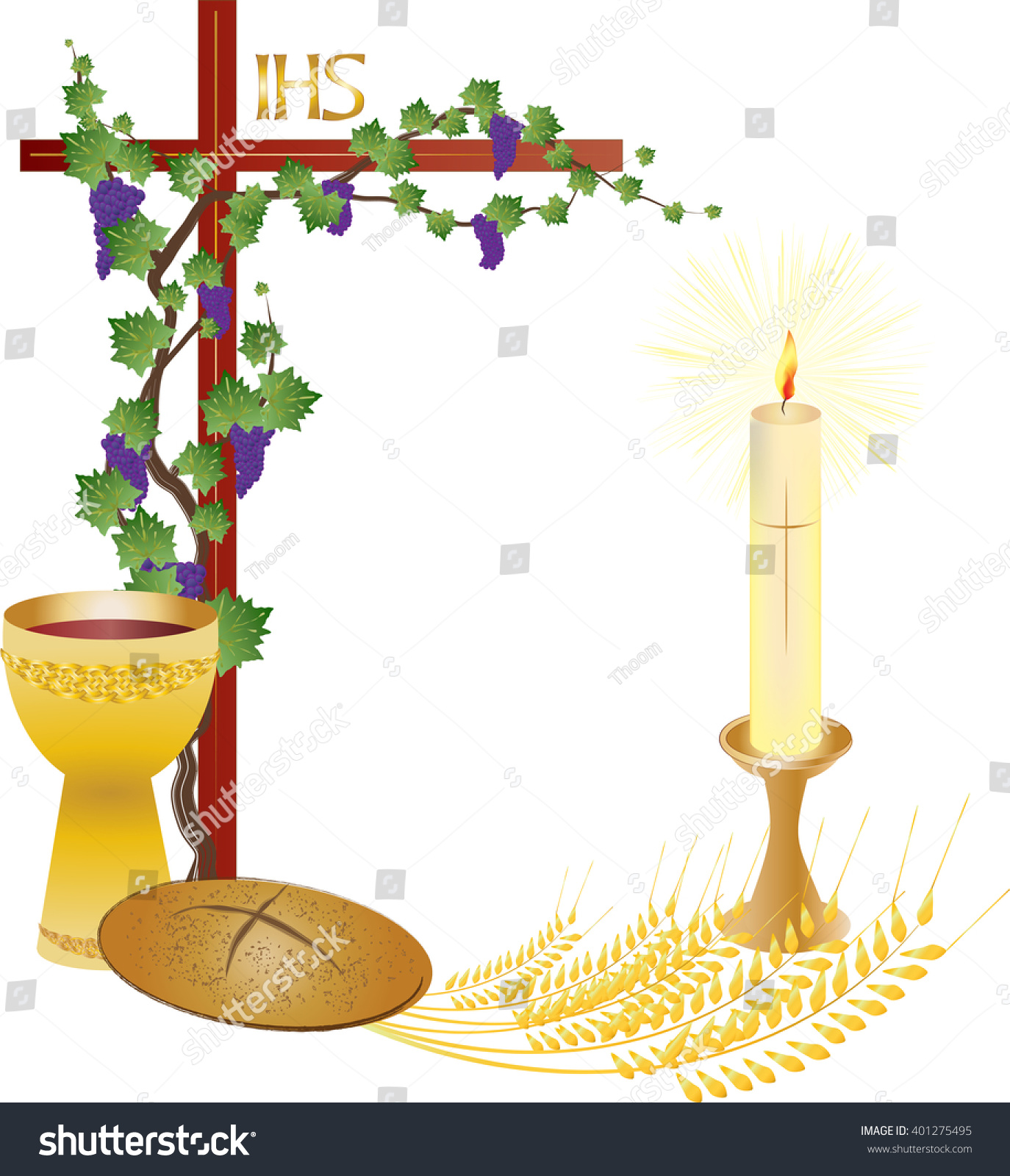 Eucharist symbols bread wine chalice host stock vector 401275495 eucharist symbols of bread and wine chalice and host with wheat ears and vine buycottarizona Image collections