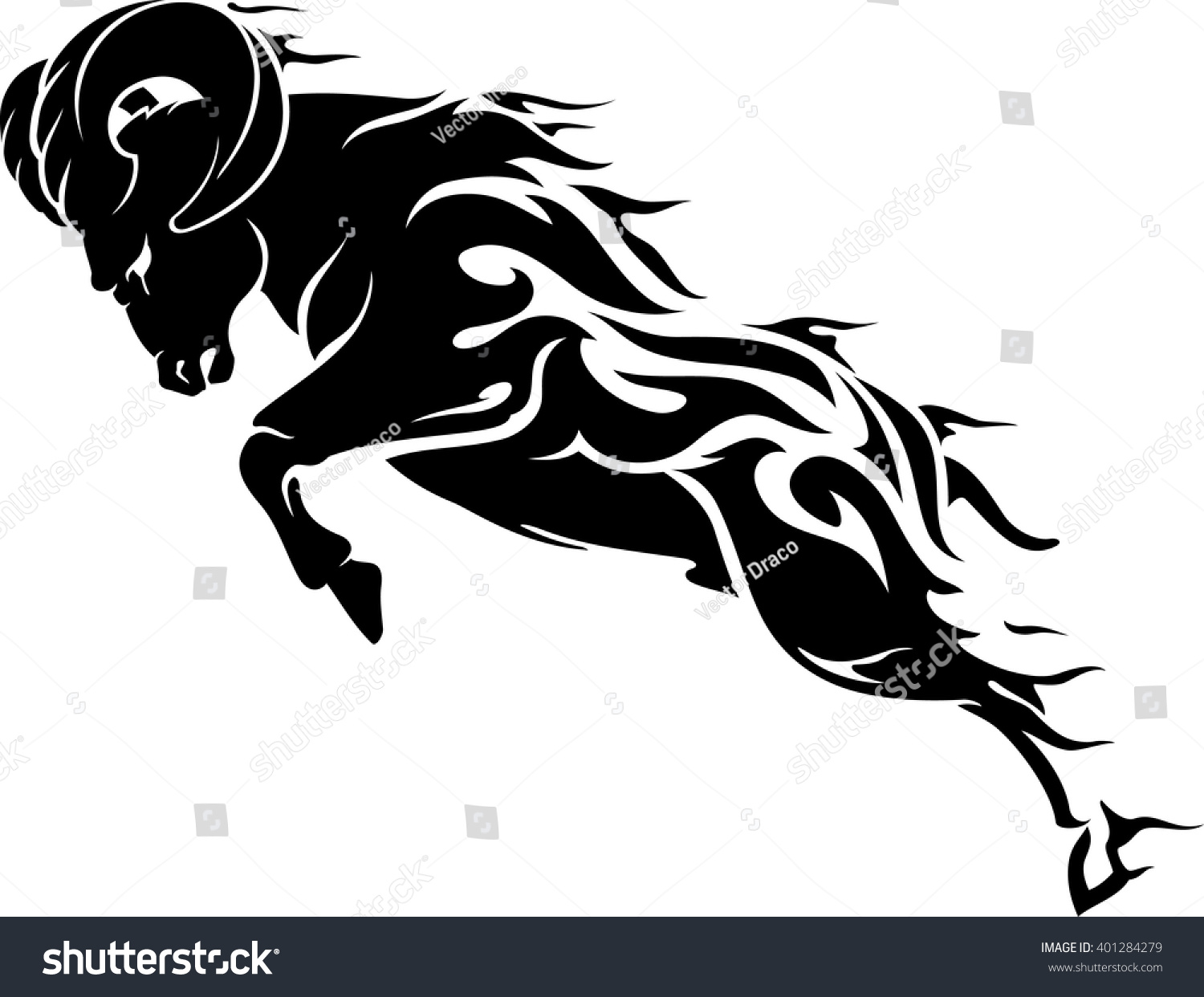 Aries Fire Element Ram Symbol Stock Vector Royalty Free 401284279