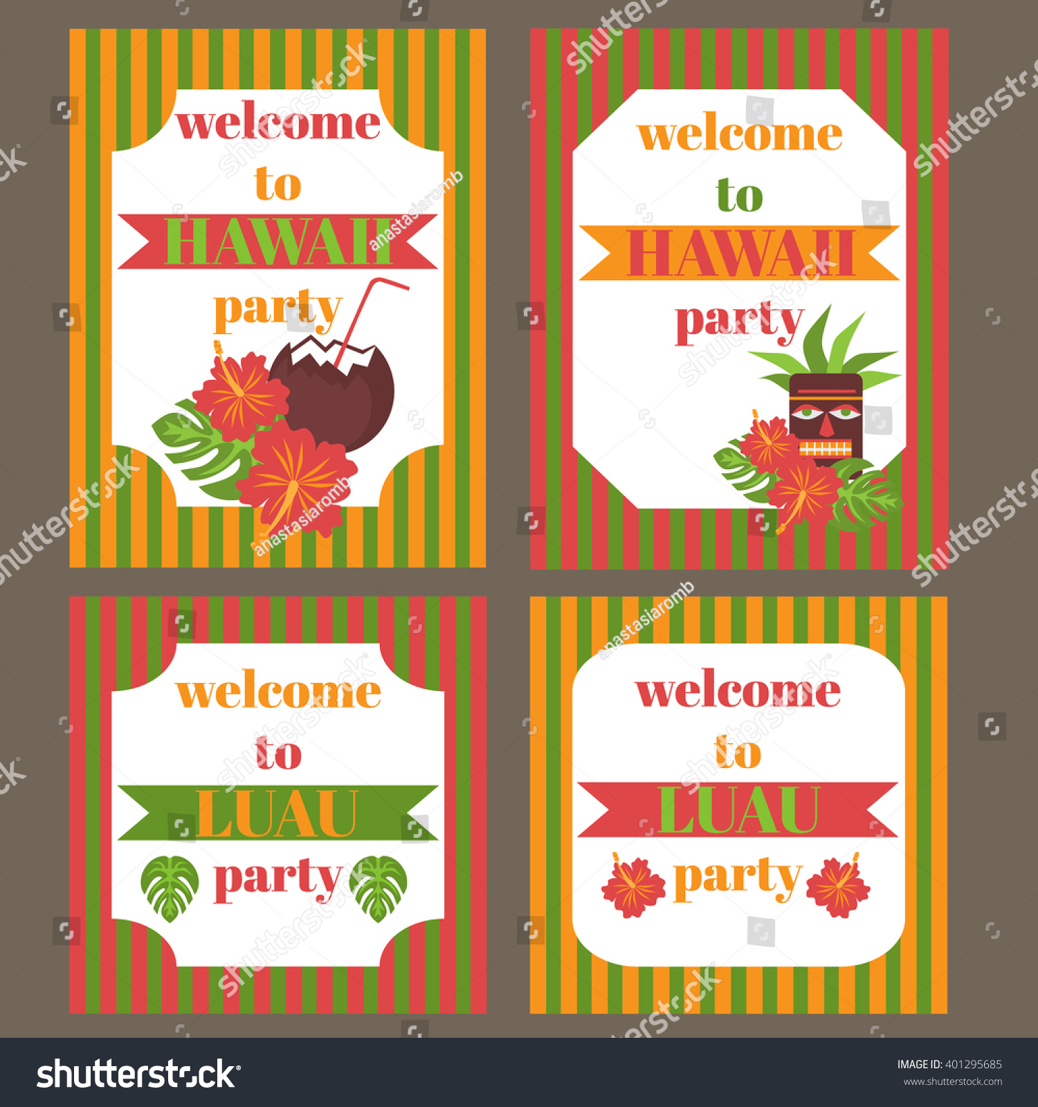 printable set hawaii party elements template stock vector royalty
