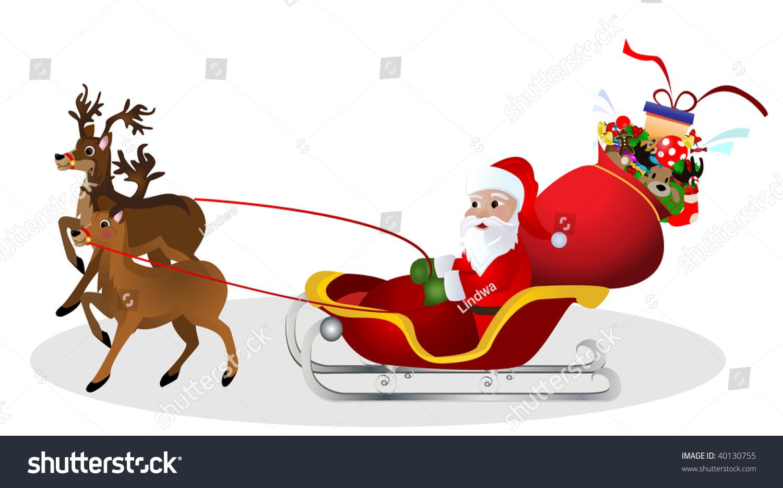 santa claus driving sleigh reindeer stock vector 40130755