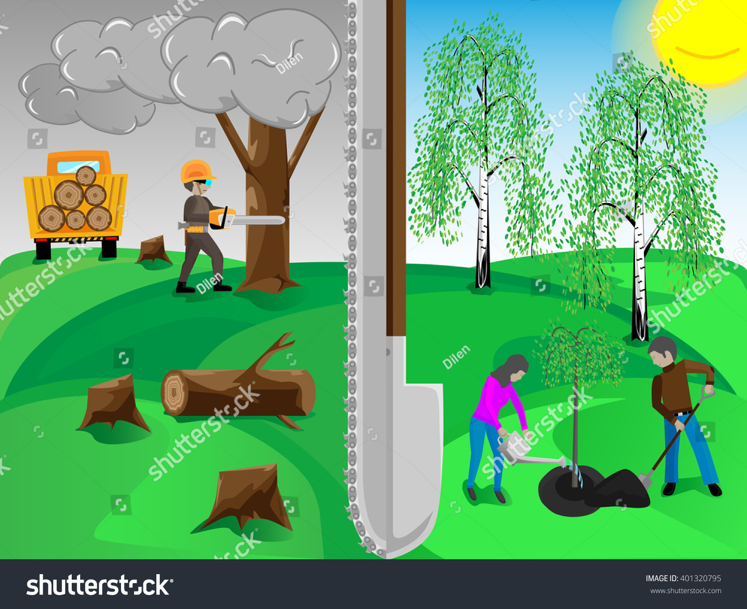 plant trees save environment stock vector royalty free 401320795