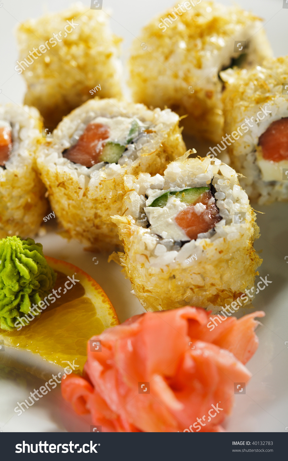 Maki Sushi Rolls Fresh Salmon Cucumber Stock Photo