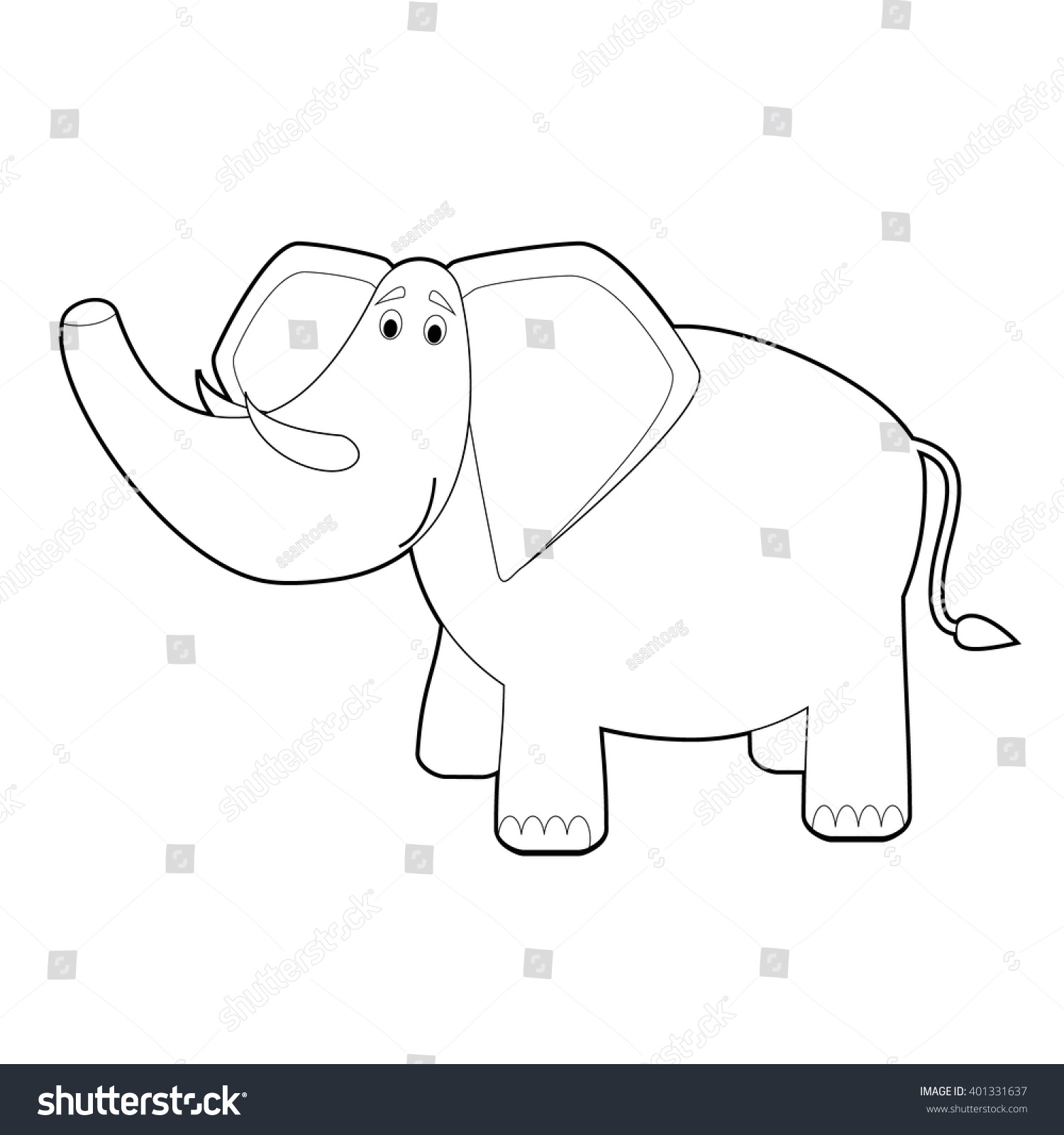 easy coloring drawings animals little kids stock vector 401331637