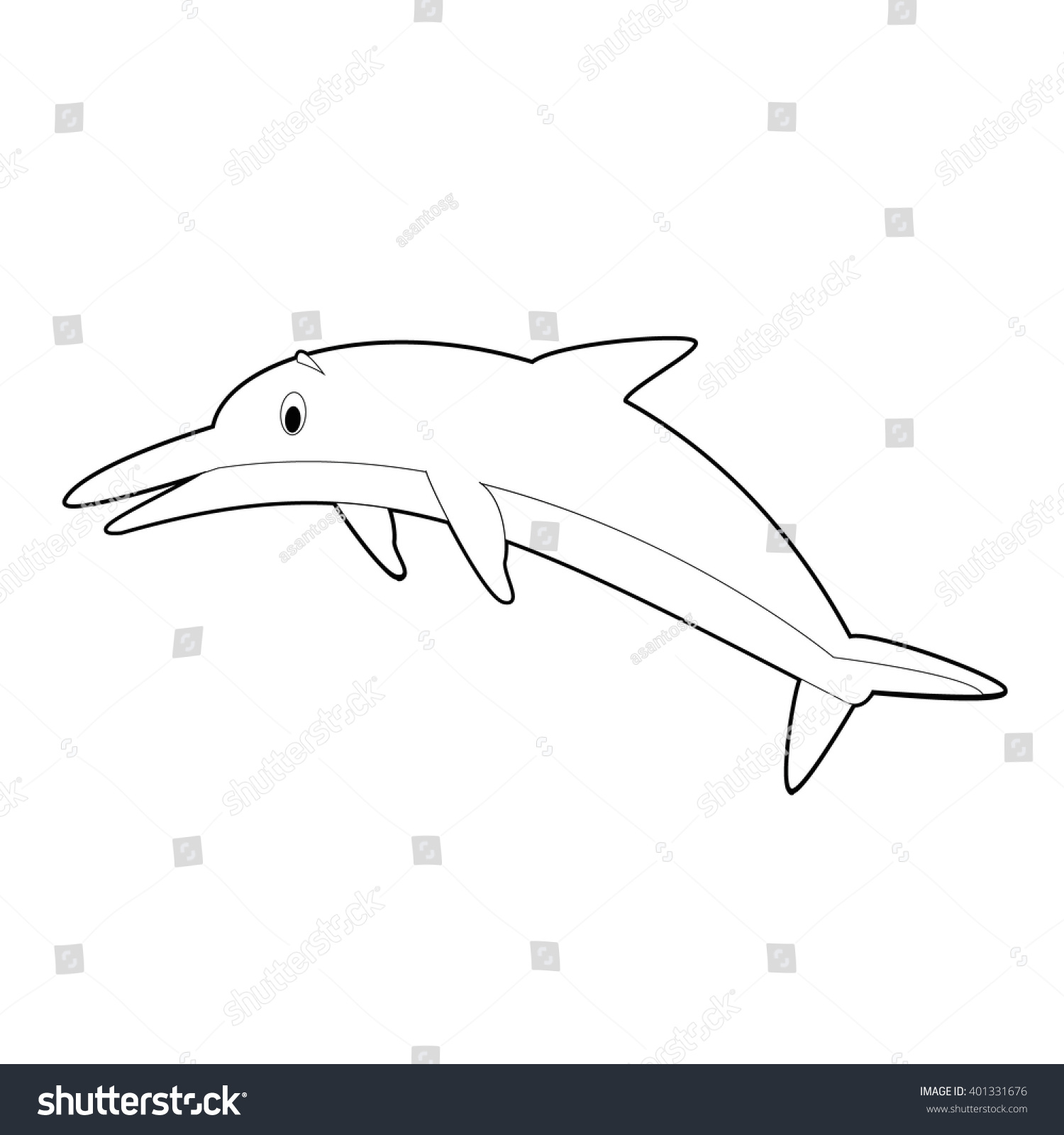 Easy coloring drawings of animals for little kids dolphin