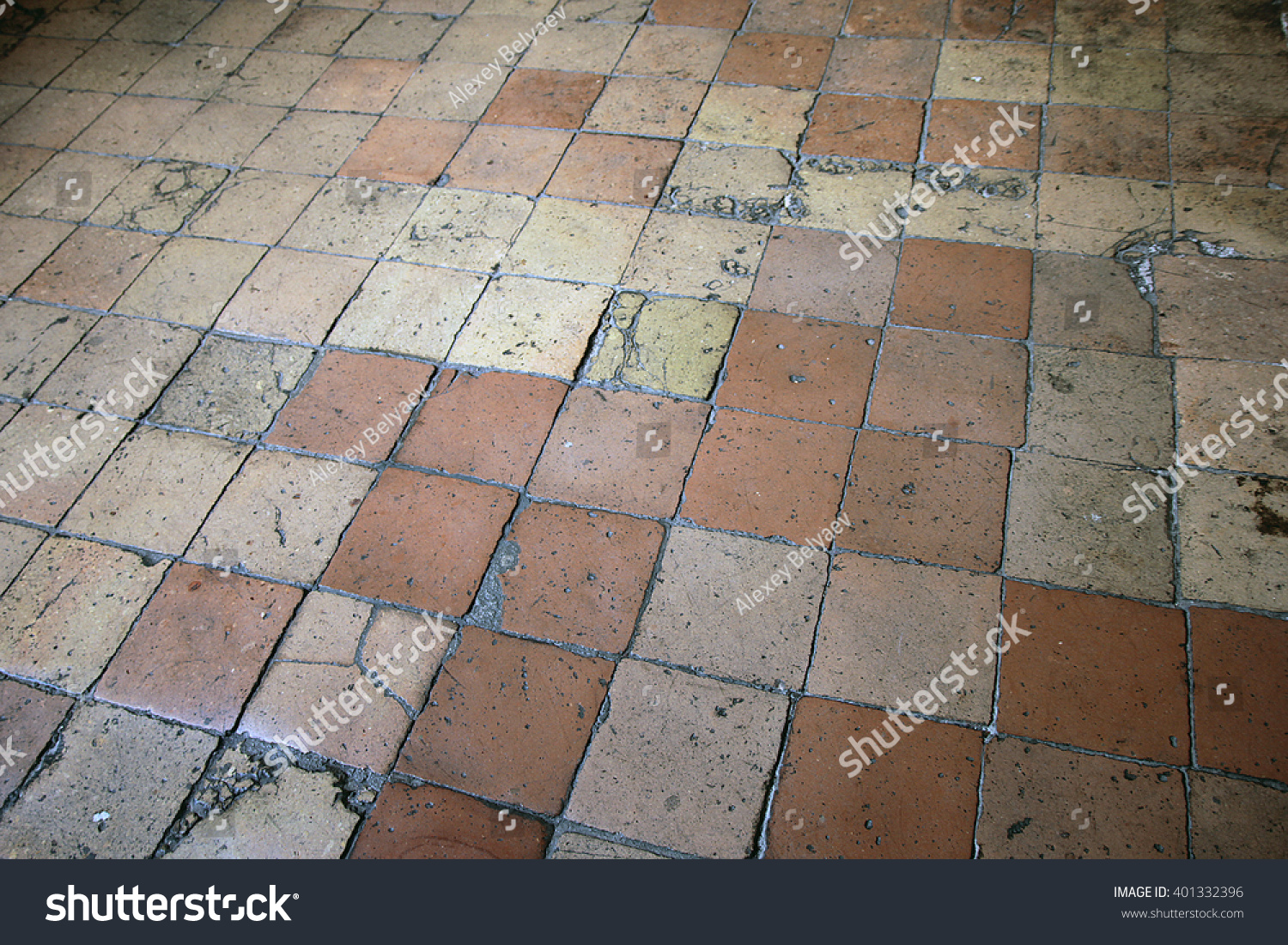 Old Cracked Ceramic Floor Tiles Terracotta Stock Photo Edit Now
