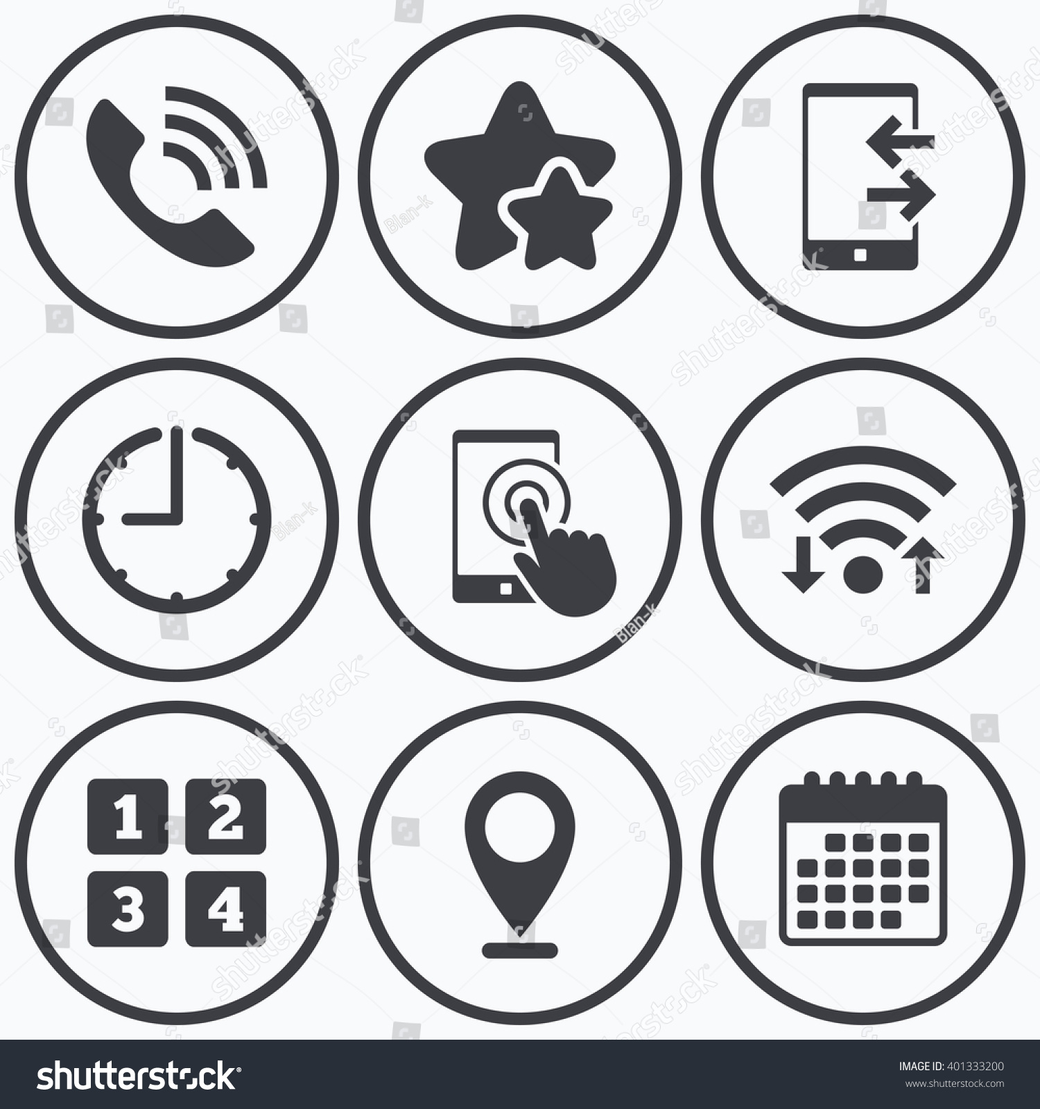 Clock wifi stars icons phone icons stock vector 401333200 clock wifi and stars icons phone icons touch screen smartphone sign call biocorpaavc