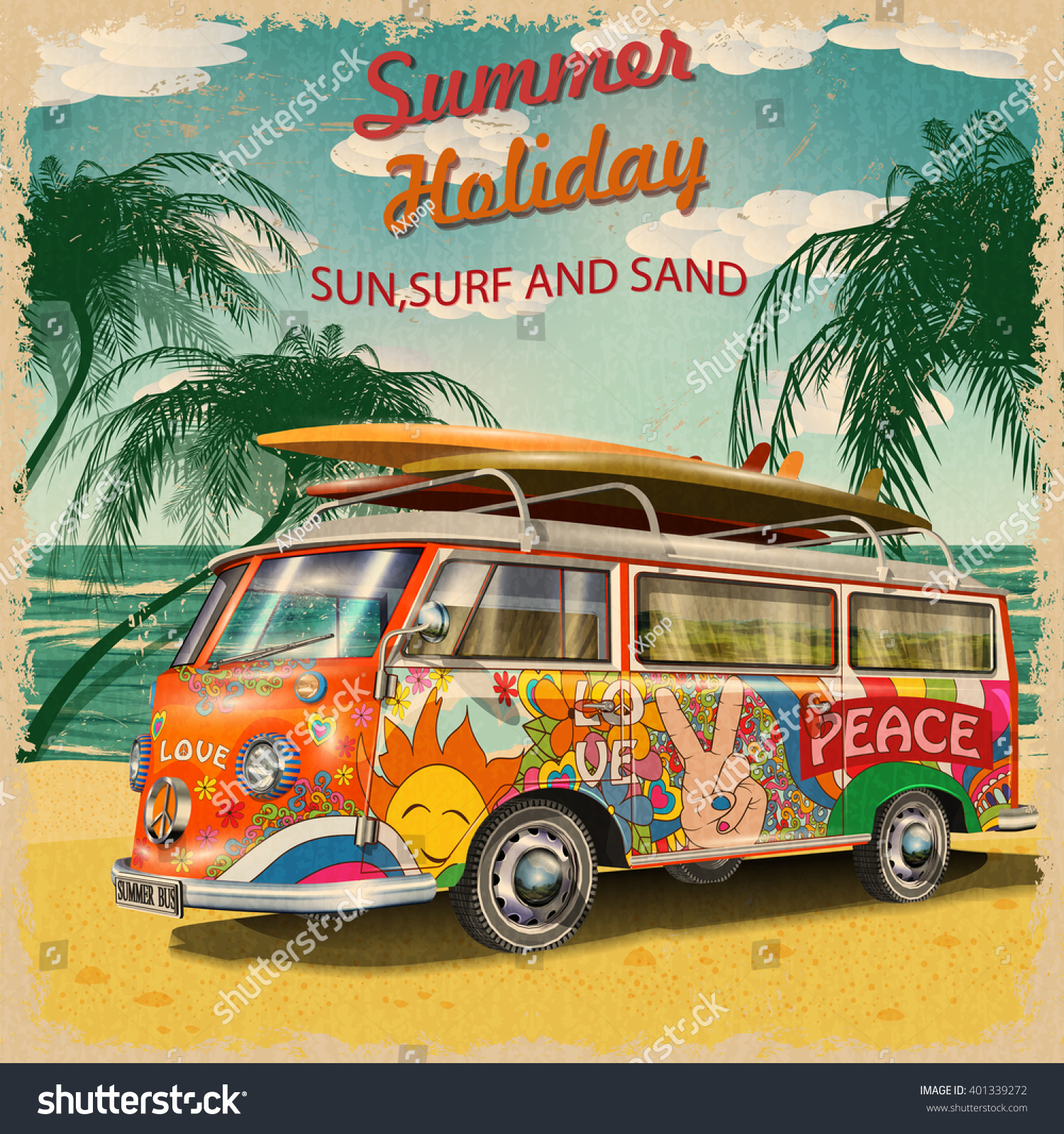 Summer Holidays Poster With Retro Bus Stock Vector ...