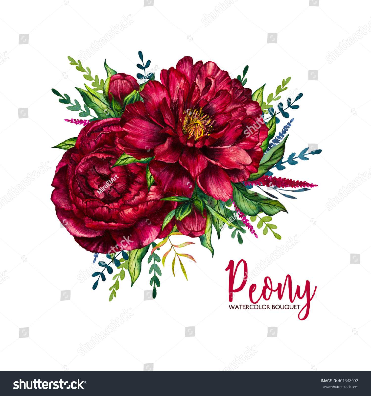 Watercolor Peony Bouquet Watercolor Red Flower Stock Illustration ...