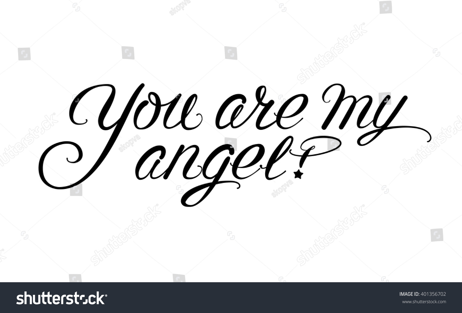 You My Angel Black On White Stock Vector Royalty Free 401356702