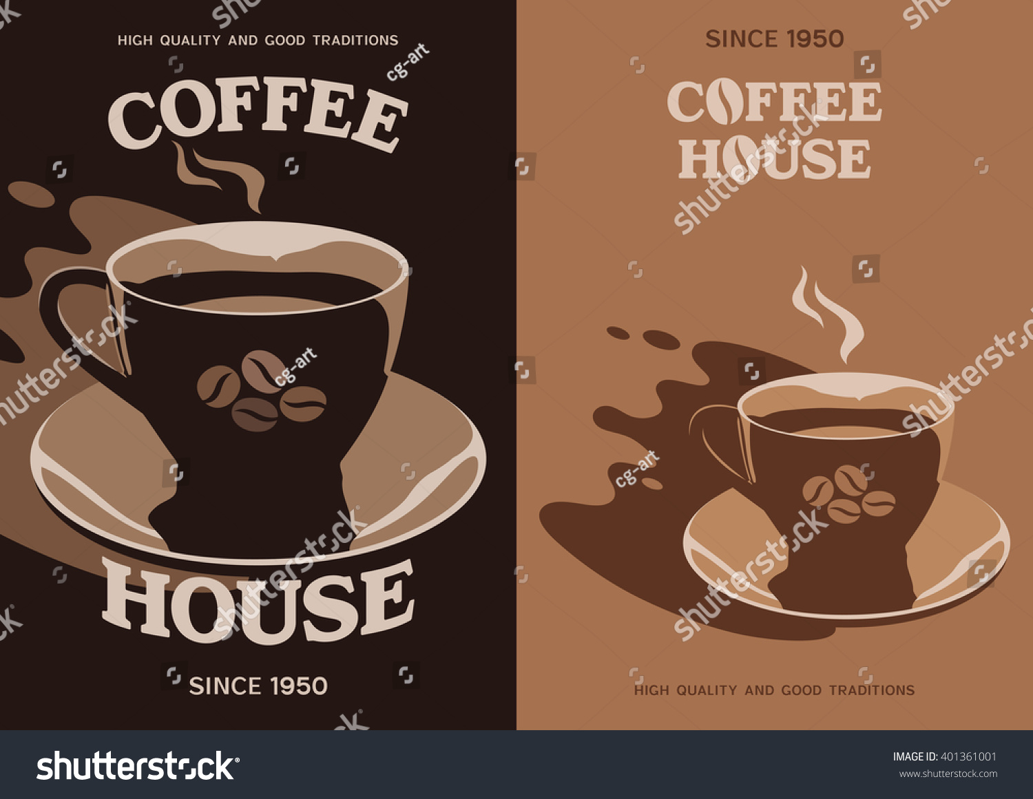 Poster design 1950 - Coffee House Vector Poster Banner Flyer Brochure Cover Design With Cup And Saucer