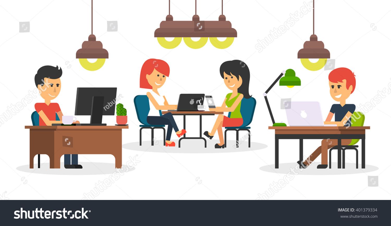 People Work Office Design Flat Business Stock Vector