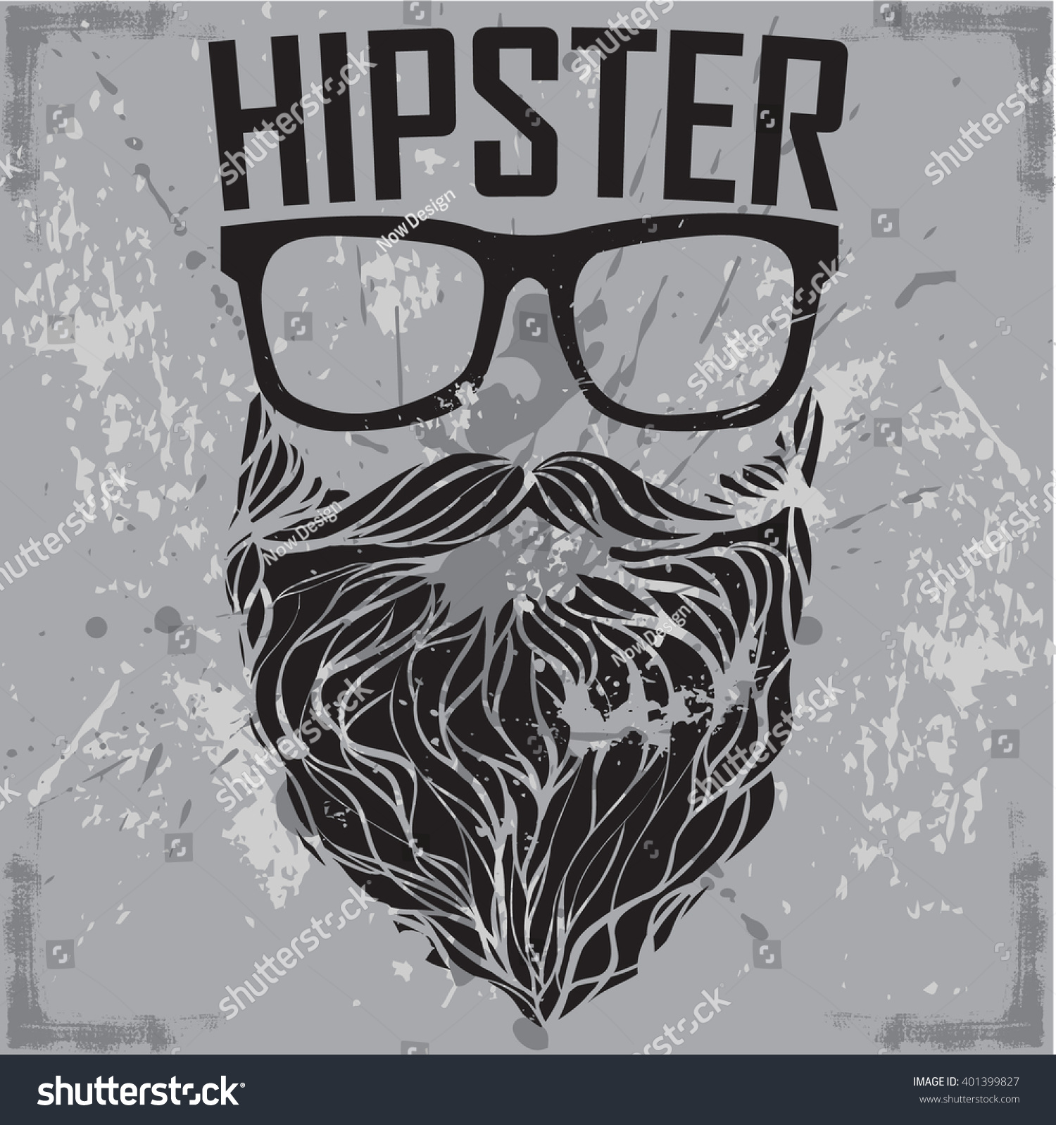 Hipster Print Tshirt Hipster Sunglasses Beard Stock Vector ...
