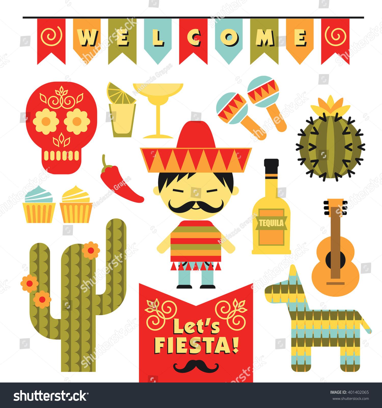 Vector Set With Traditional Mexican Symbols. Cinco De Mayo ...