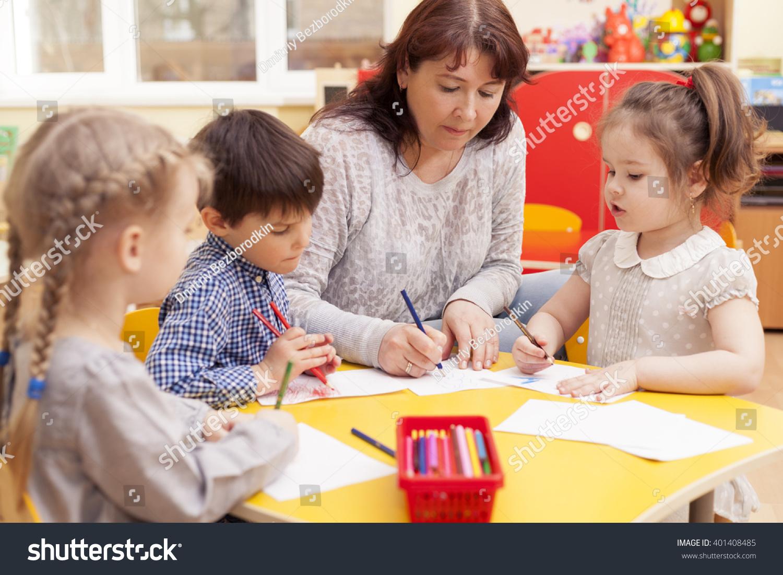 Kindergarten Teacher Beautiful Mature Caucasian Woman -8677