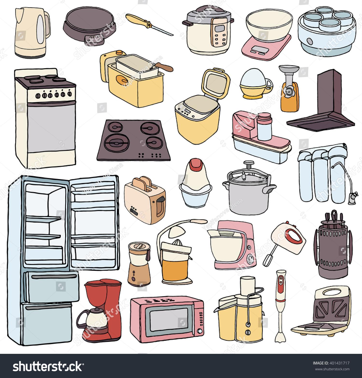 Kitchen Appliance Drawings ~ Kitchen appliances set doodle stock
