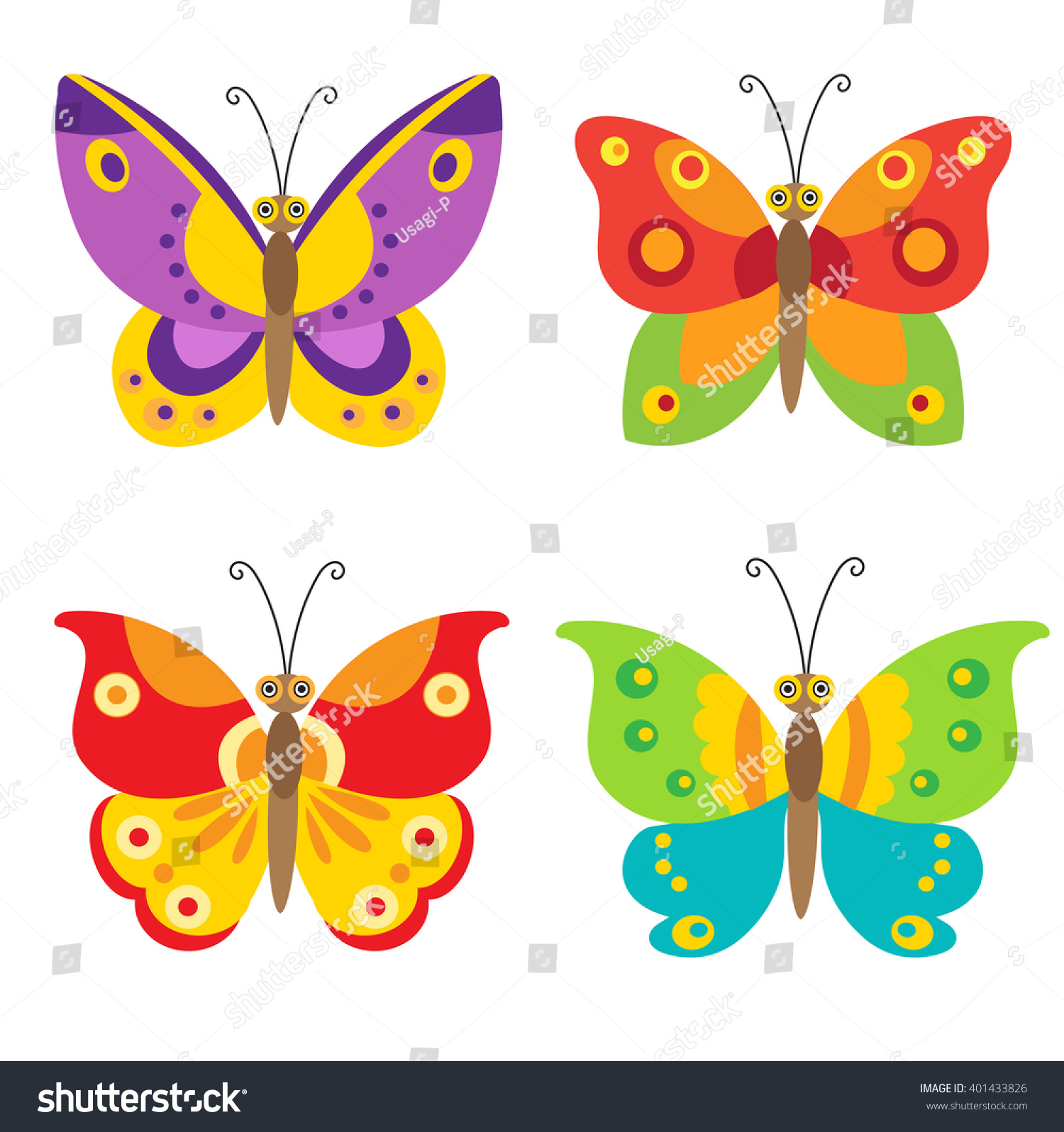 Uncategorized Images Of Butterflies For Children simple flying butterfly vector set icons stock 401433826 colorful cartoon for children