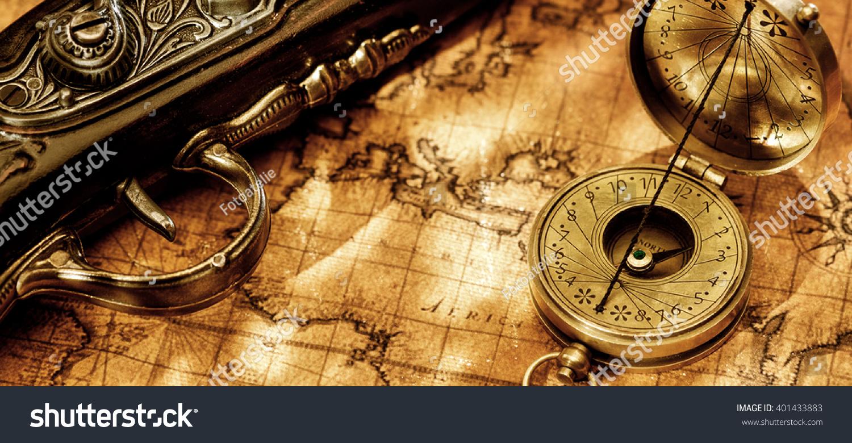 Old Vintage Retro Compass Antique Pistol Stock Photo - Antiques us maps with compass