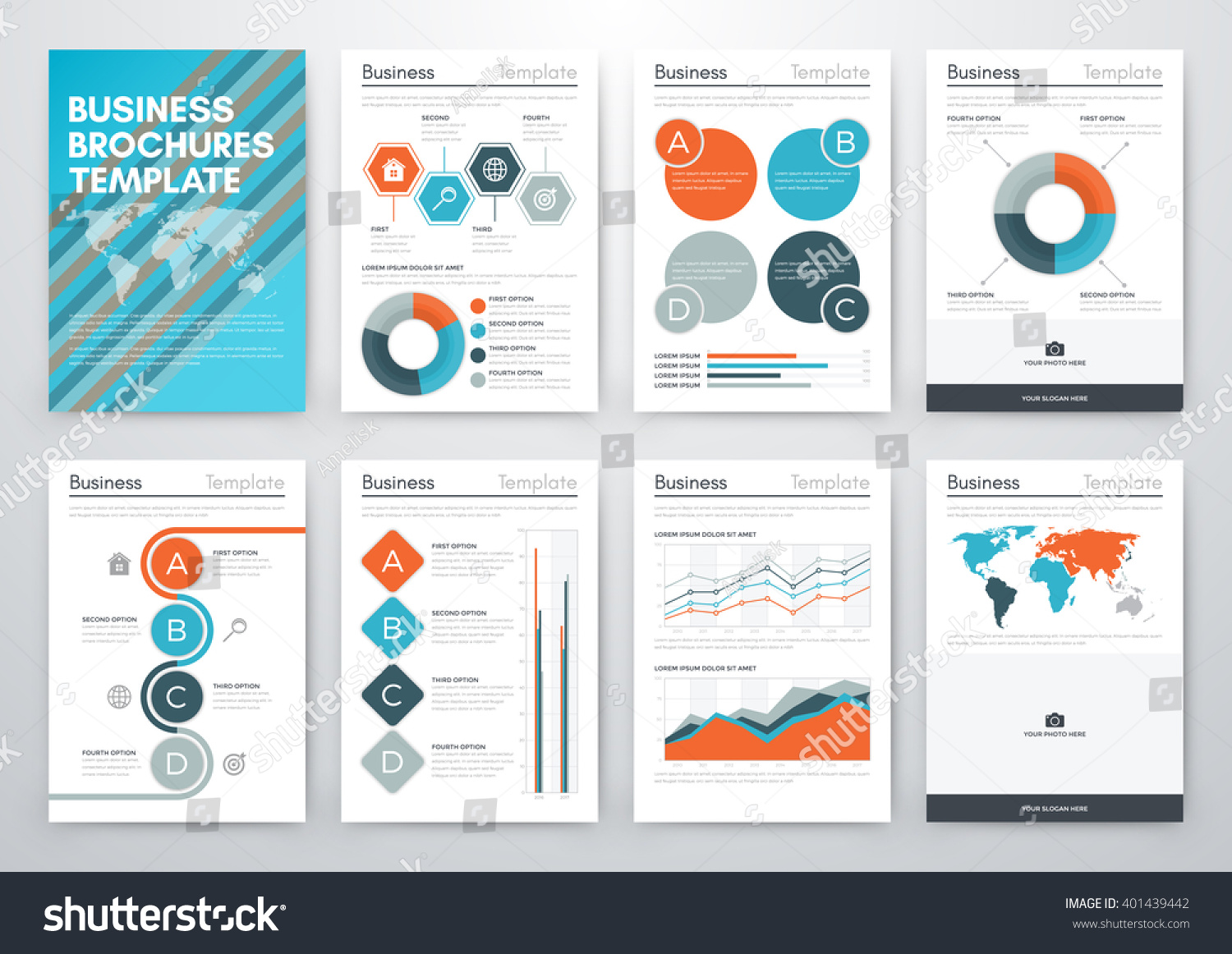 Vector illustration set infographics template brochure for Infographic brochure template