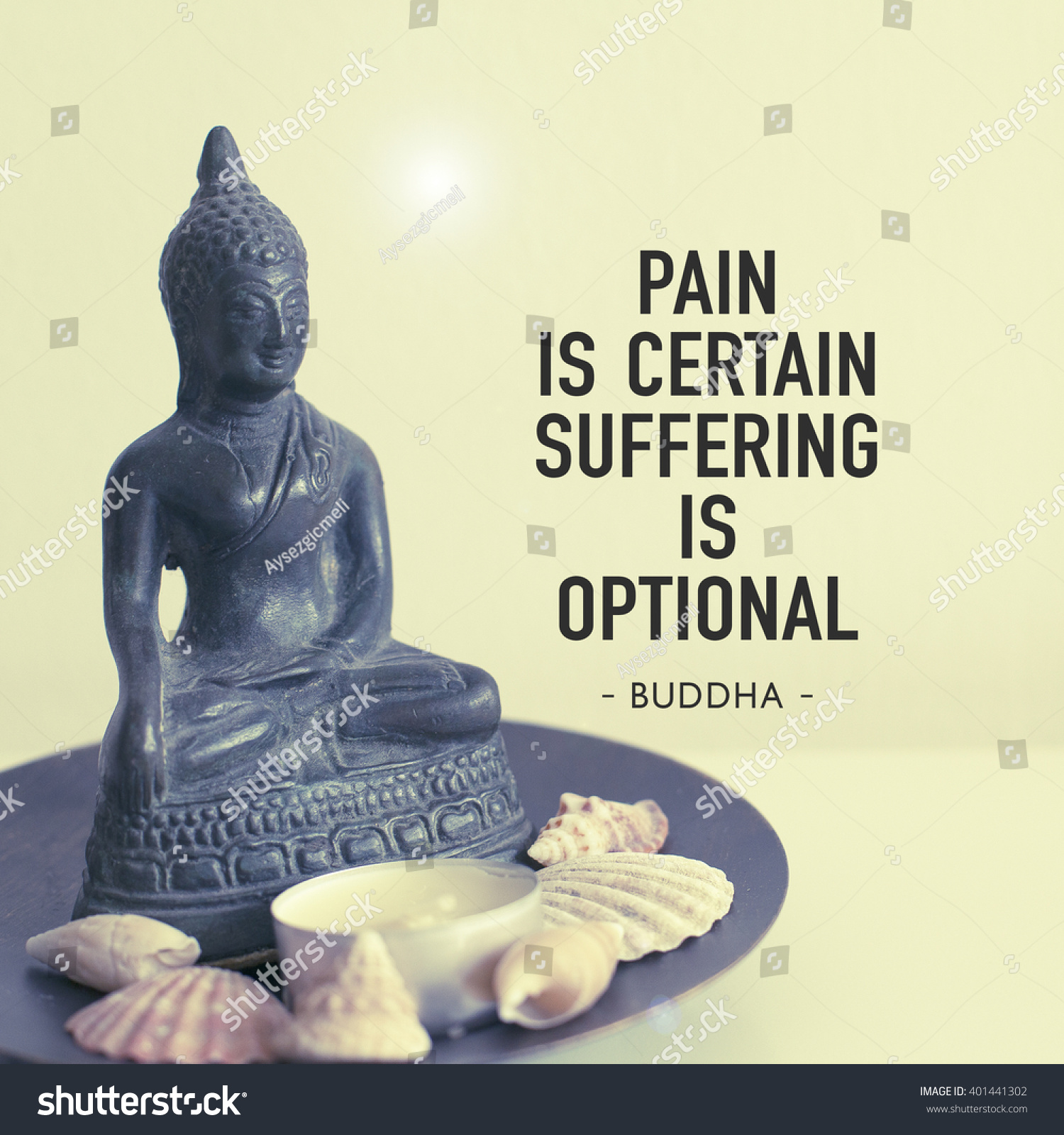 Inspirational Motivational Quote Pain Certain Suffering Stock Photo