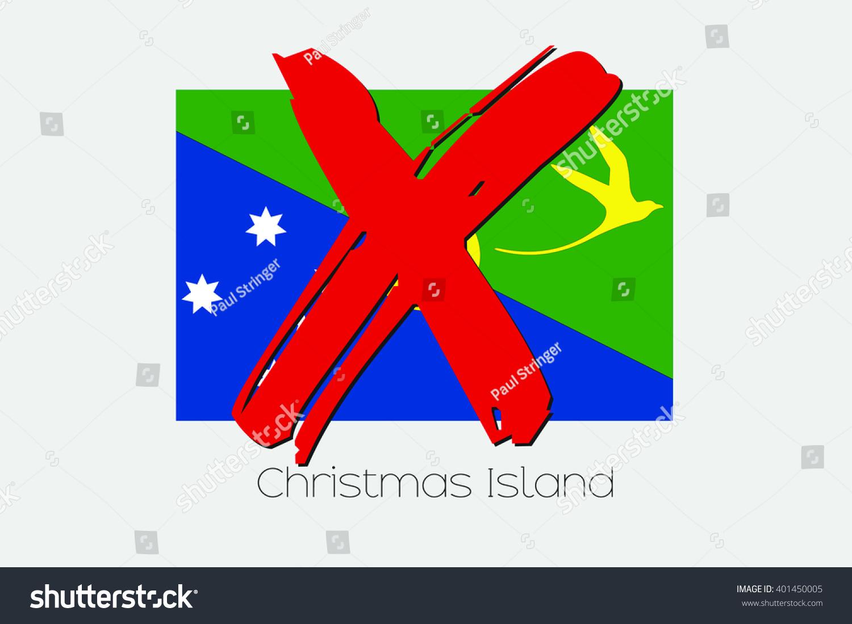 Flag Illustration Cross Through Christmas Island Stock Vector 401450005 - Shutterstock