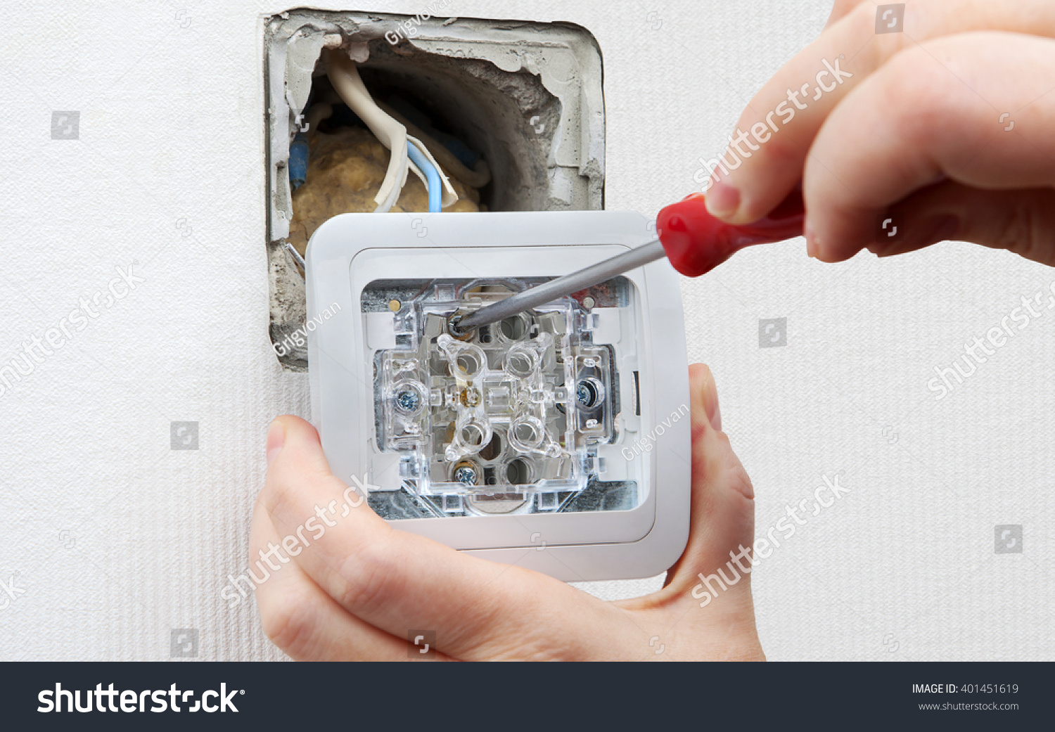 Change Light Switch Mounted Electrical Stock Photo Edit Now Wiring A House Switches Connect Wires From