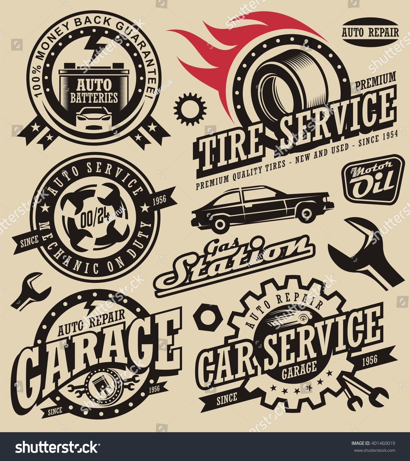 Car Service Symbols Auto Engine Parts Stock Vector 401460019 ...