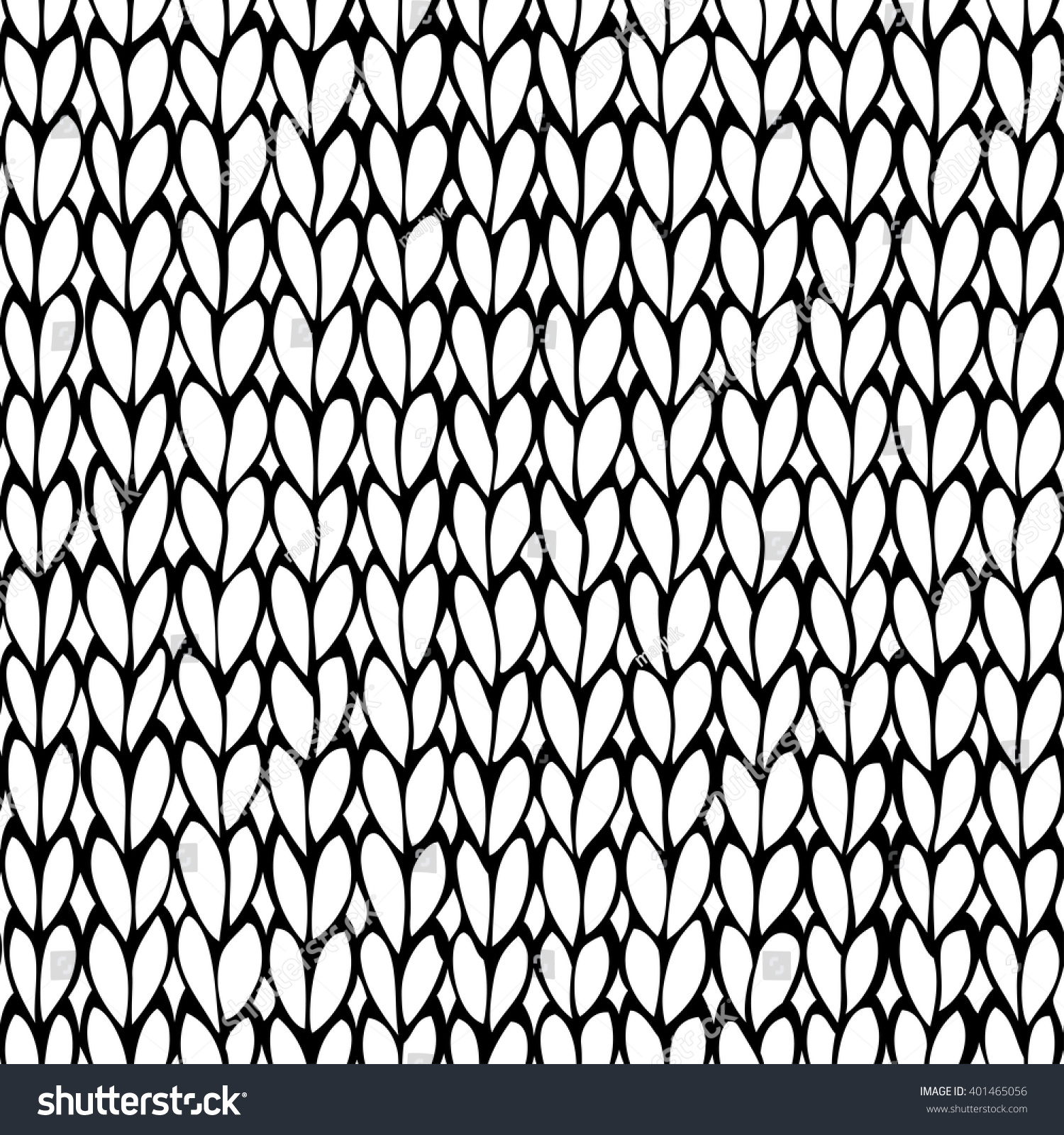 Vector Doodles Stockinette Stitch Texture. Seamless Black And White Knitted P...