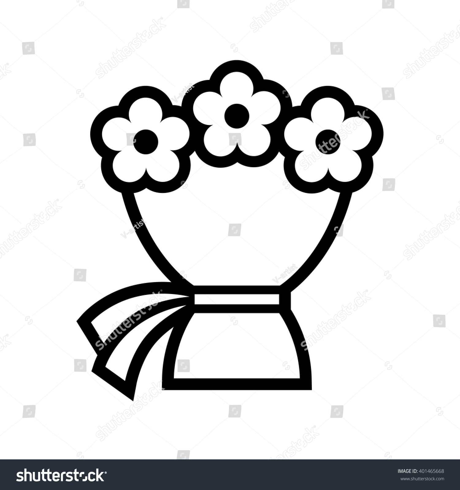 Flower Line Drawing Icon : Bouquet flowers vector icon black white stock