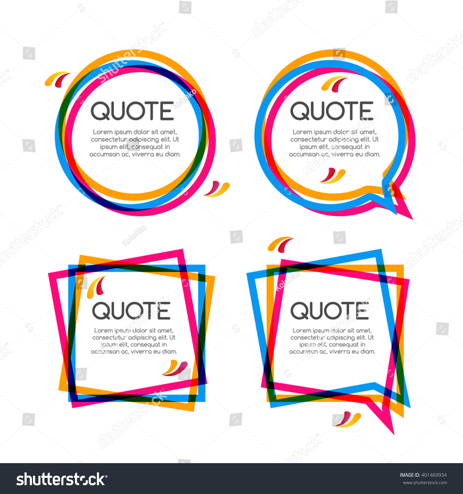Vector Set Quote Frame Commas Speech Stock Vector (Royalty Free ...