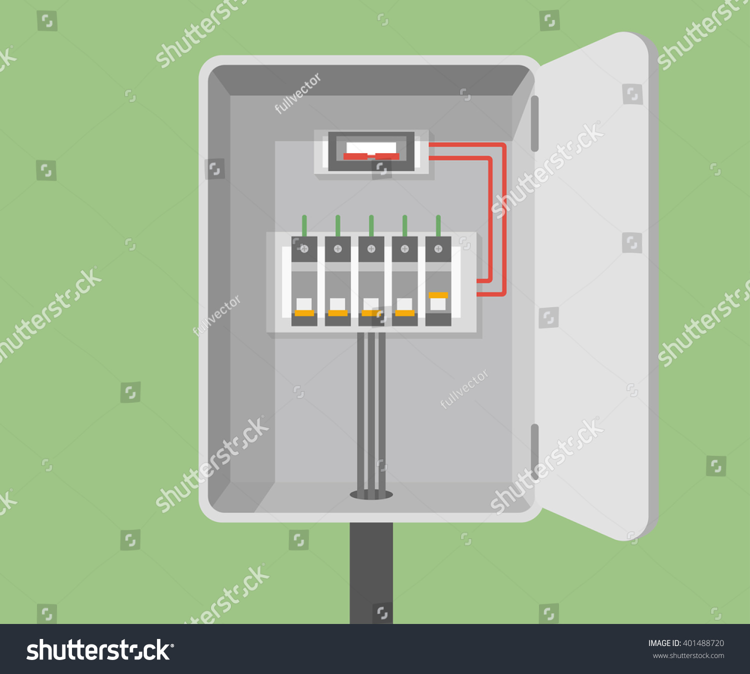 Circuit Breaker Cabinet Breakers Vector Flat Circuit Breakers Electrical Stock Vector