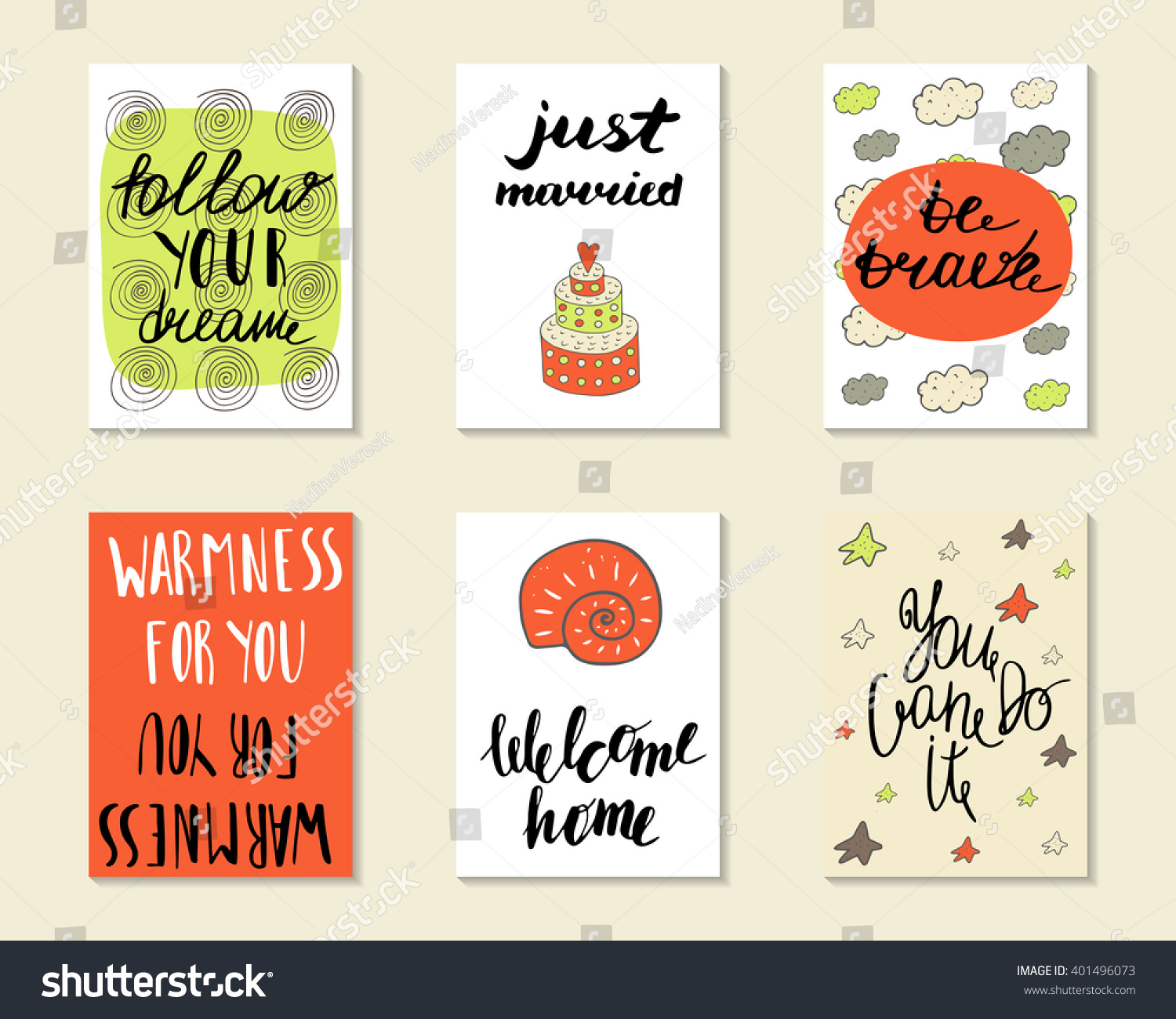 Just Married Quotes Cute Hand Drawn Doodle Postcards Cards Stock Vector 401496073