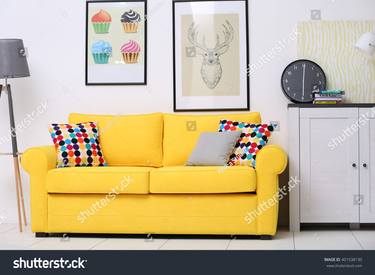 Yellow Sofa In The Living Room Part 59
