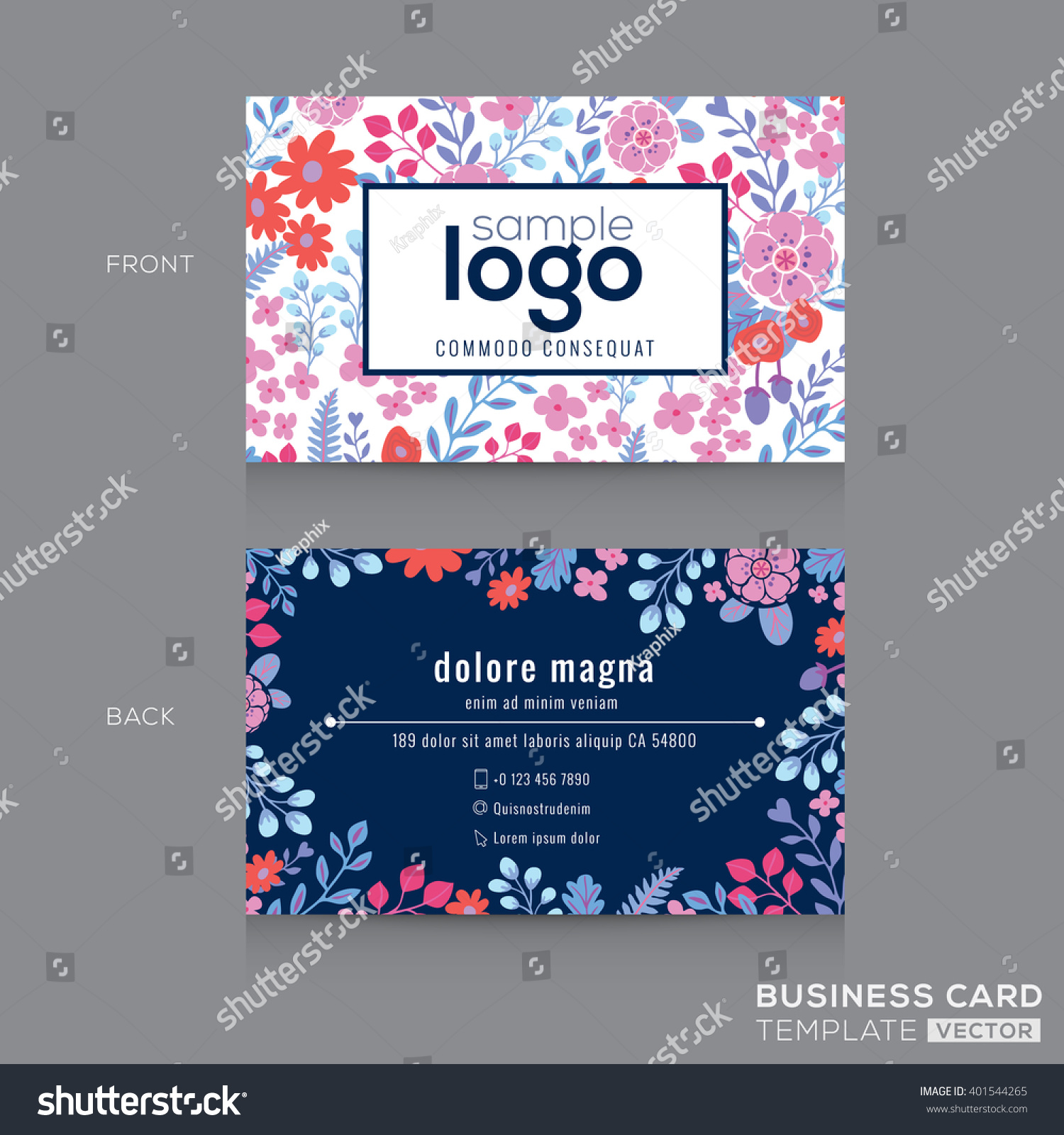cute floral pattern business card name stock vector 401544265 shutterstock. Black Bedroom Furniture Sets. Home Design Ideas