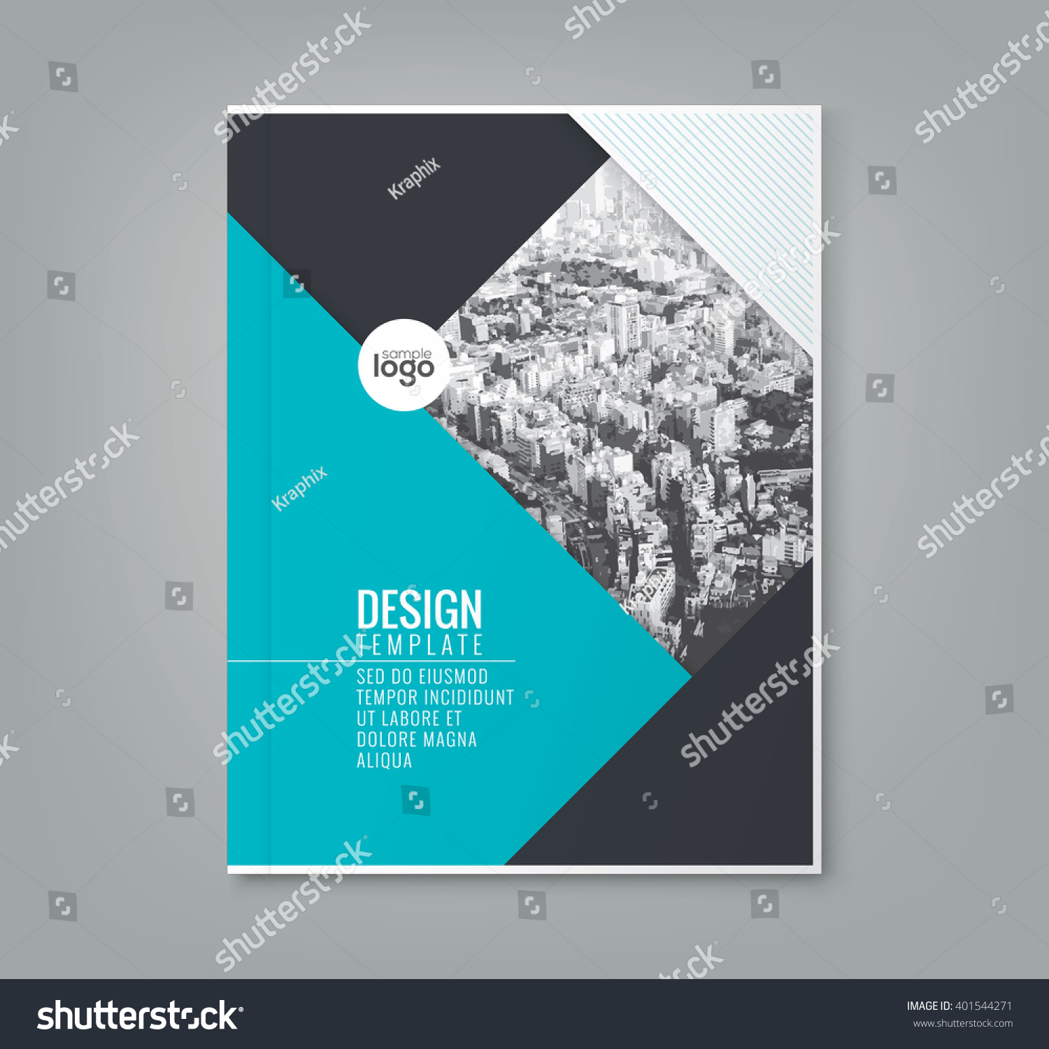 Simple Book Cover Quest : Minimal simple blue color design template stock vector