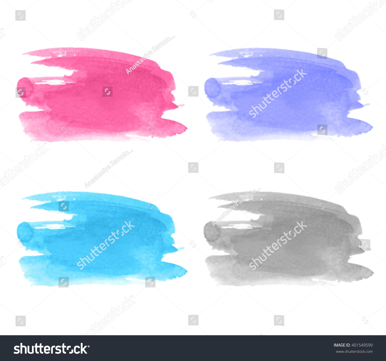Set Watercolor Ink Colorful Pink Violet Stock Vector