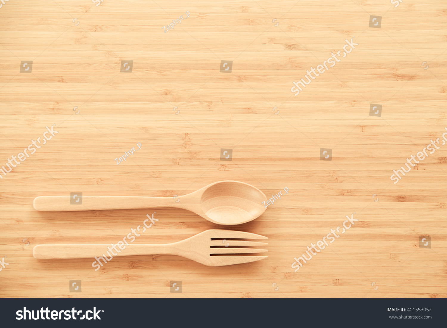 Wooden dining table background - Wooden Spoon And Fork On Wood Texture Of Dining Table From Top View Use For