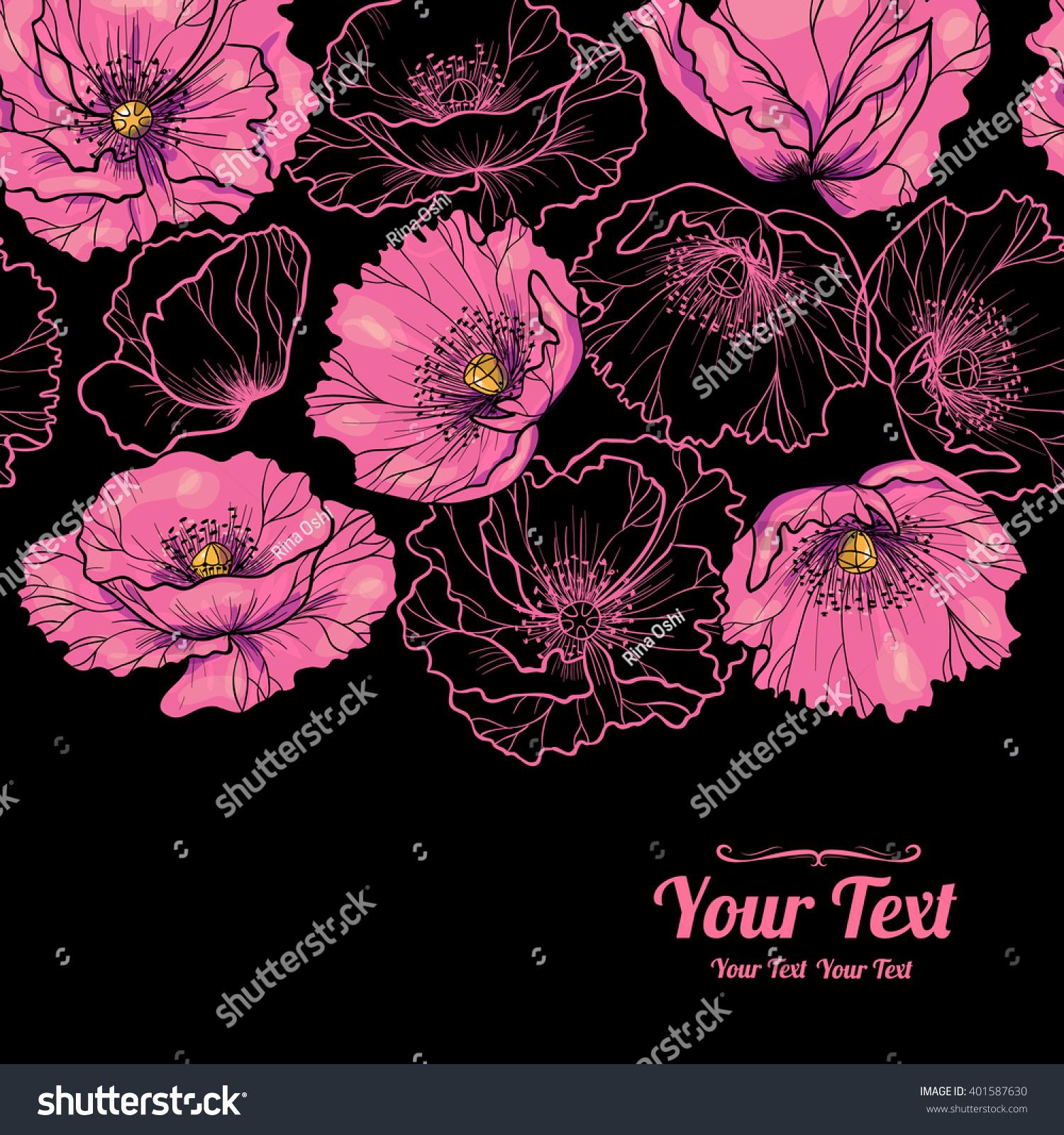 Vector Beautiful Pink Poppies Flowers Horizontal Stock Vector