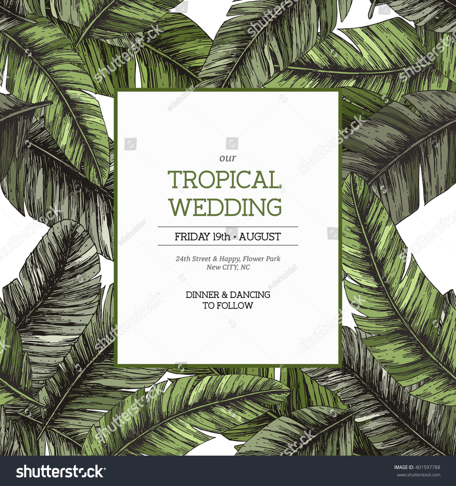 tropical palm leaves wedding invitation template vector illustration