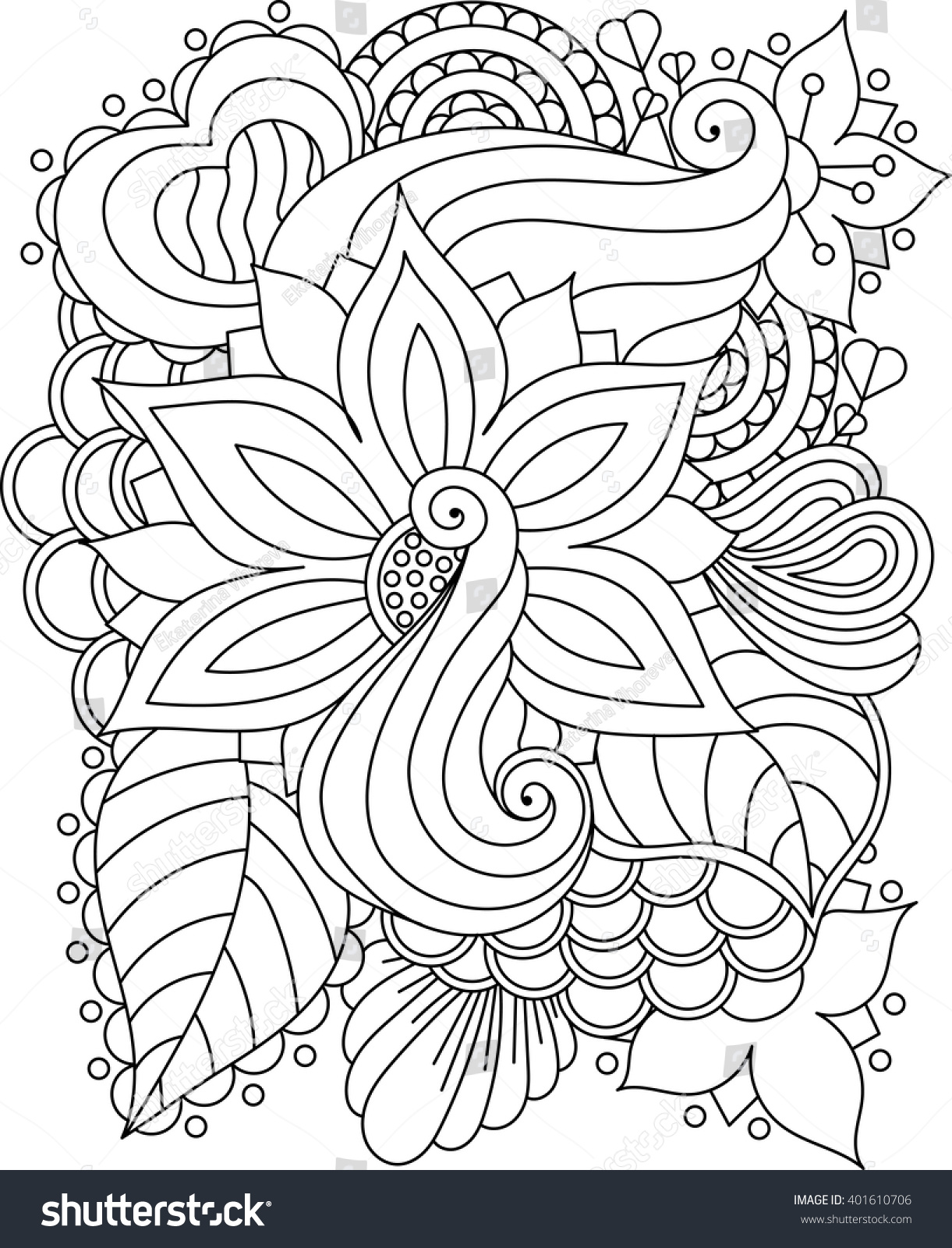 vector abstract handdrawn floral texture wavy stock vector