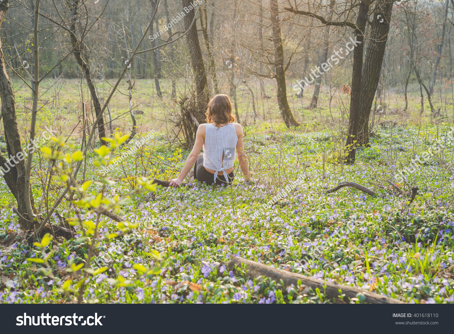 Beautiful Girl Sitting Spring Forest Flowers Stock Photo Edit Now